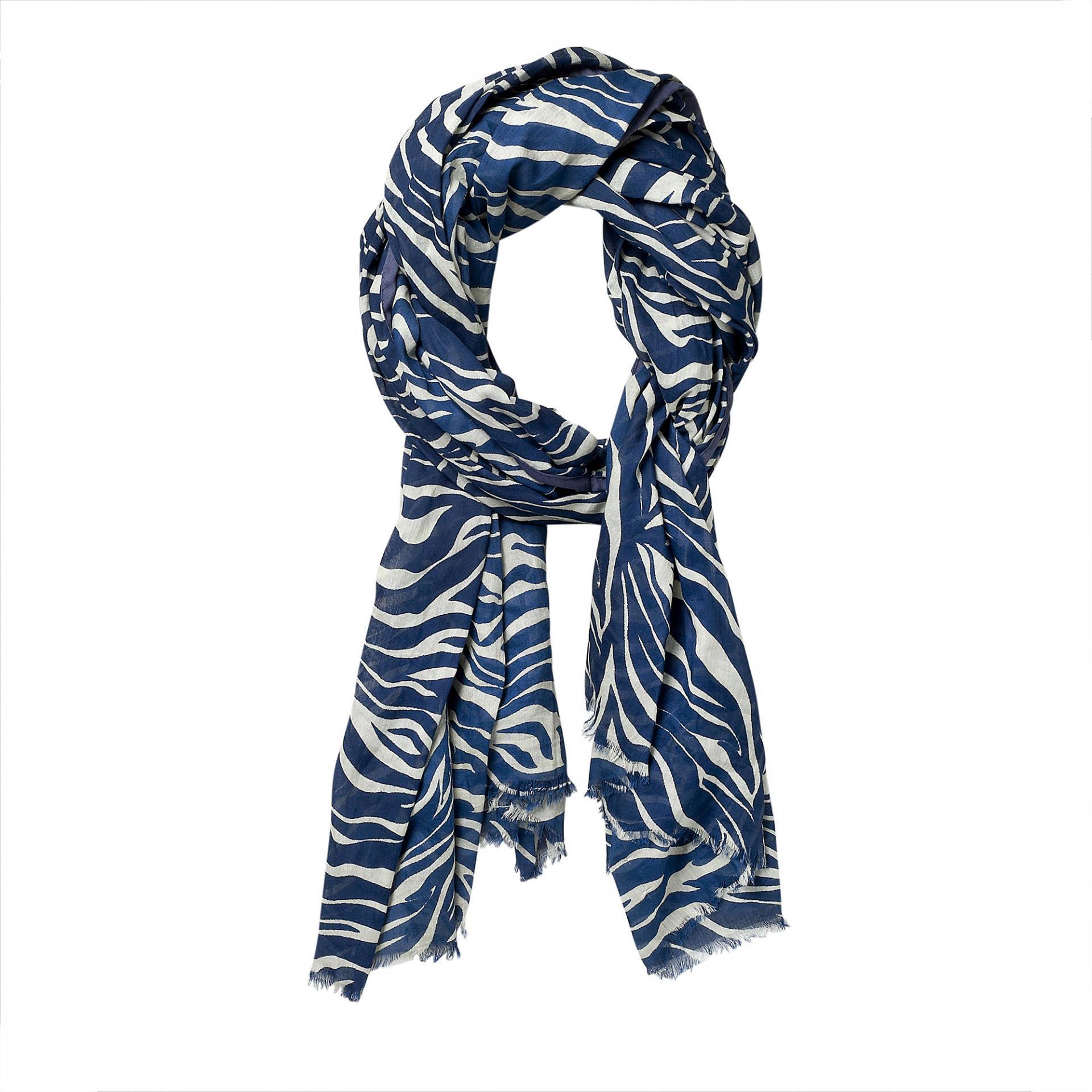 Bloomingville Šátek Piping, modrá barva, textil