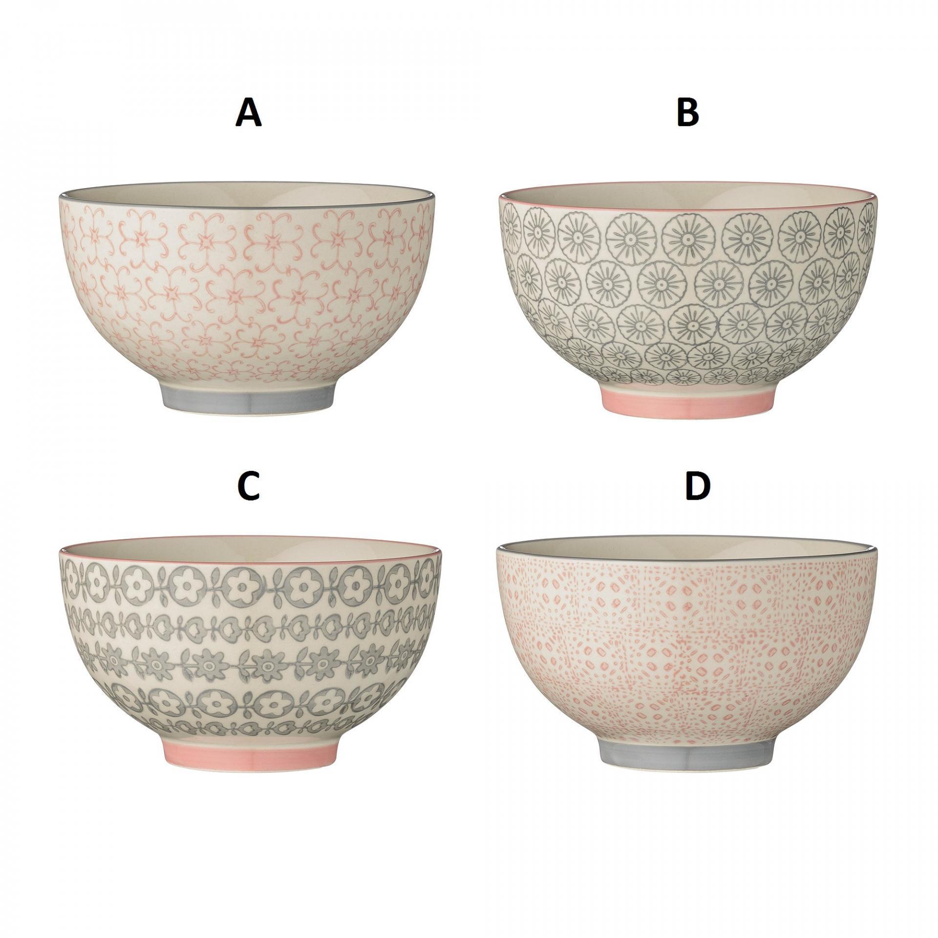 Bloomingville Keramická miska Cécile Motiv A, růžová barva, šedá barva, keramika