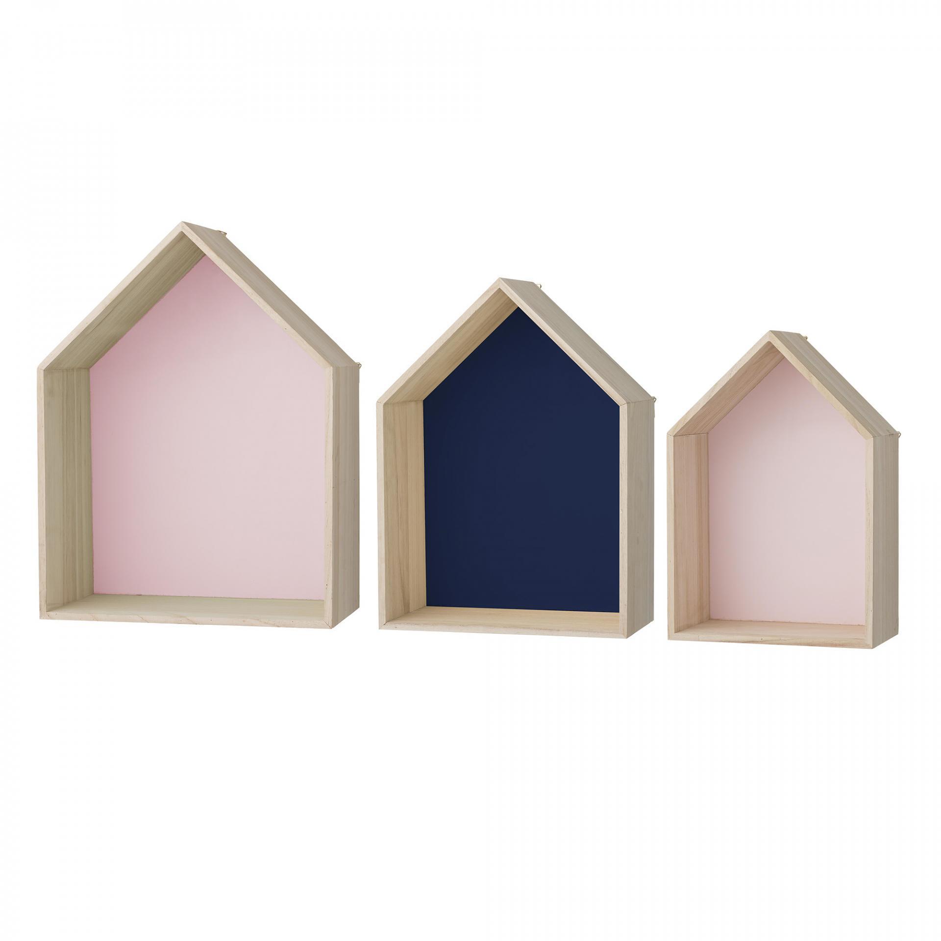 Bloomingville Nástěnná polička Rose & Navy House Velikost L, růžová barva, modrá barva, hnědá barva, dřevo