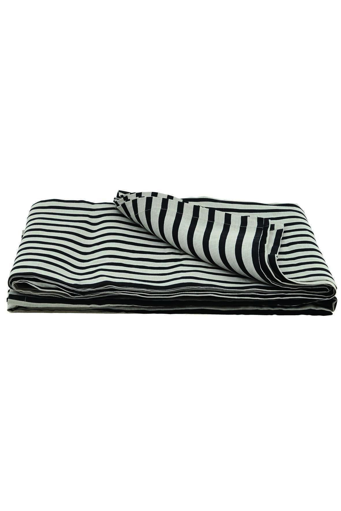 House Doctor Lněný přehoz Black/grey 250x220, černá barva, textil