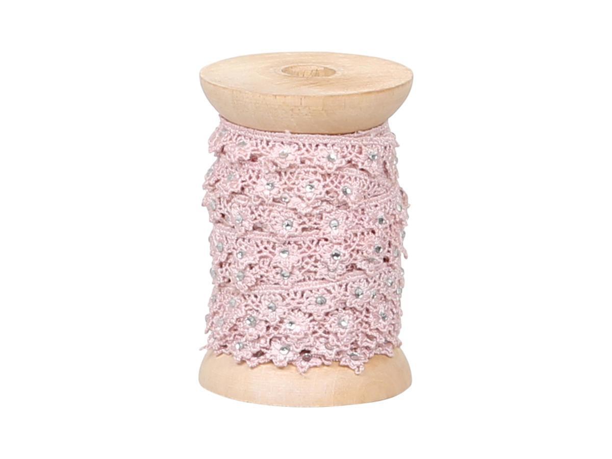Chic Antique Krajková stuha s kamínky Rose, růžová barva, textil