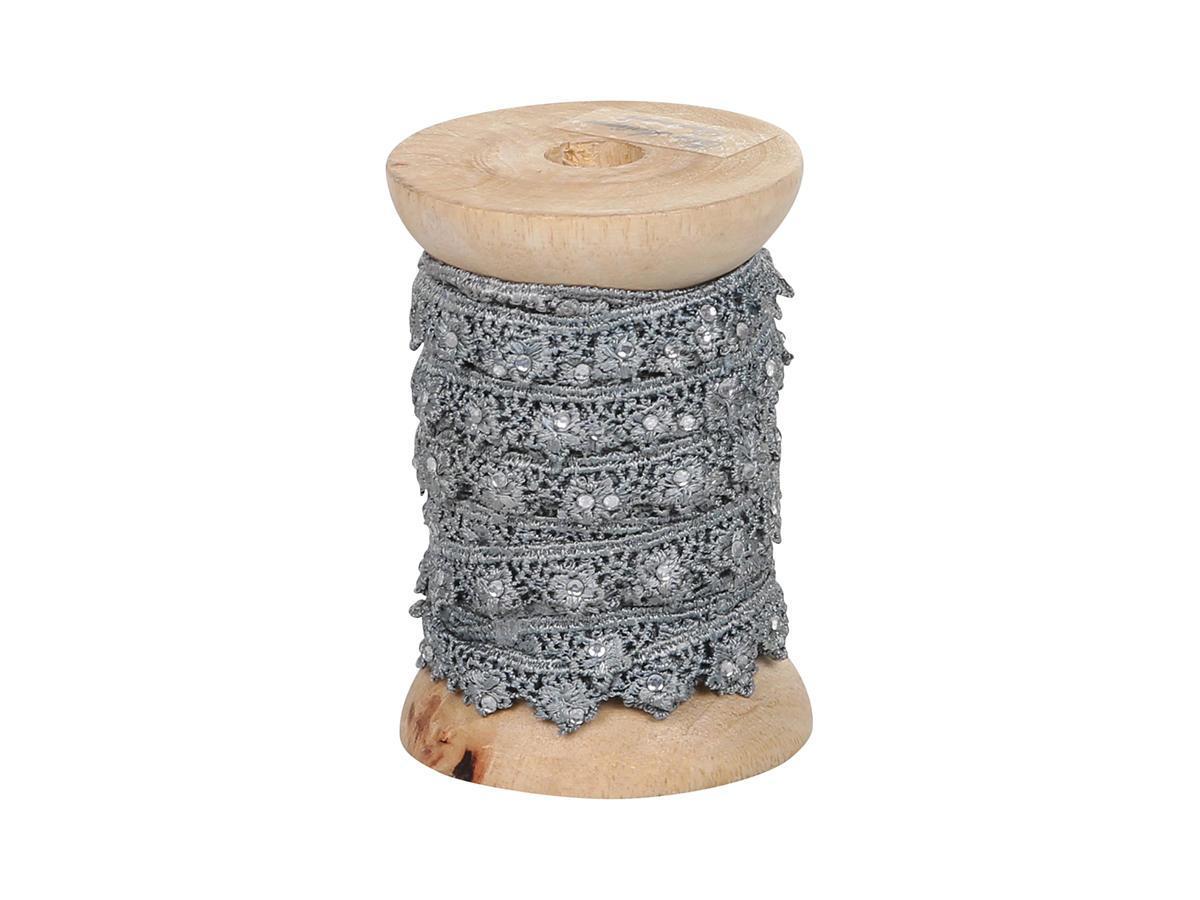 Chic Antique Krajková stuha s kamínky Grey