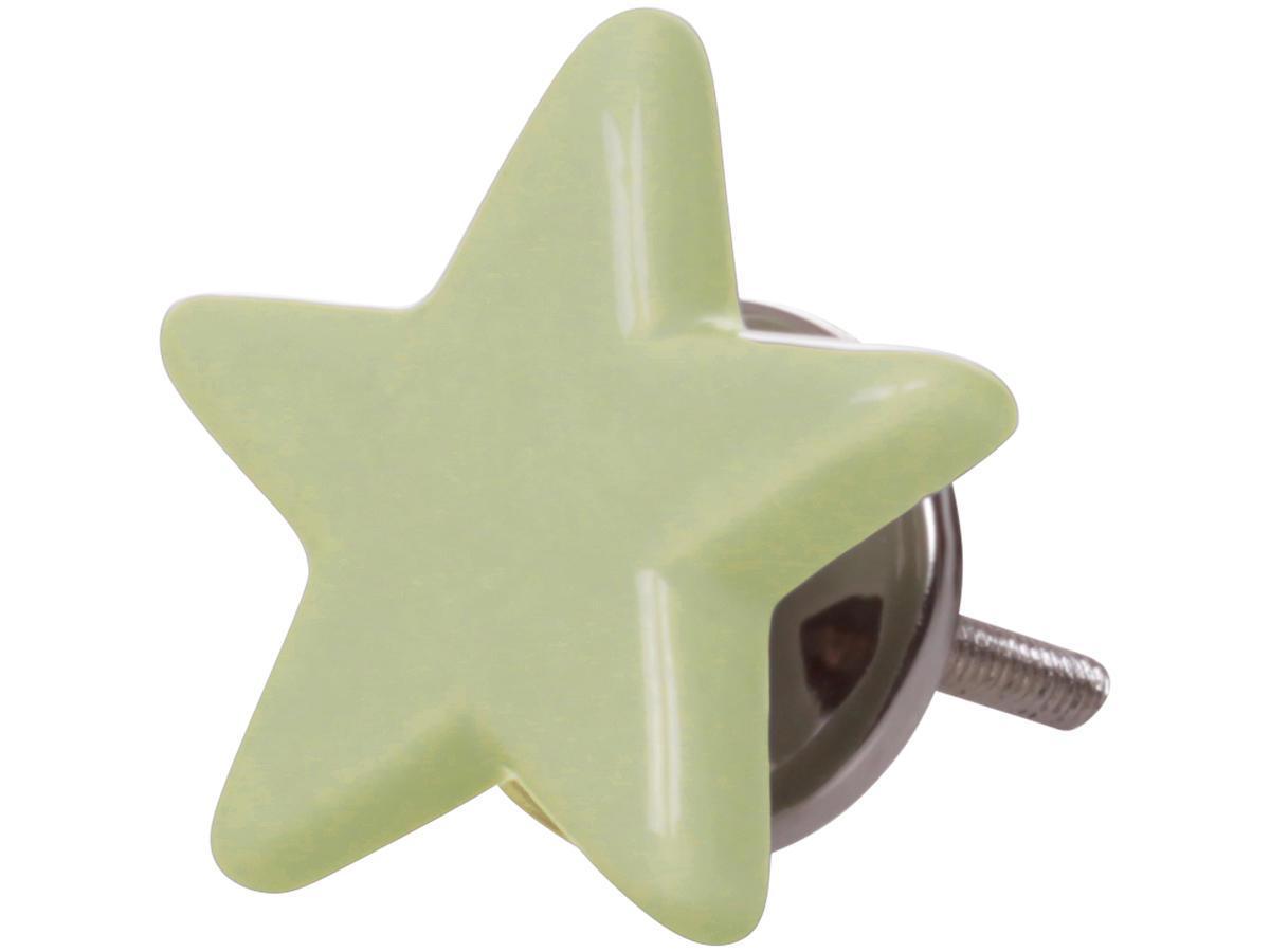 Chic Antique Úchytka Star pastel green, zelená barva, keramika