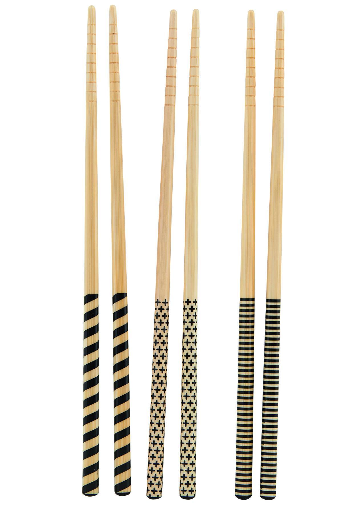 house doctor Bambusové hůlky 3D - set 6 párů, černá barva, hnědá barva, dřevo
