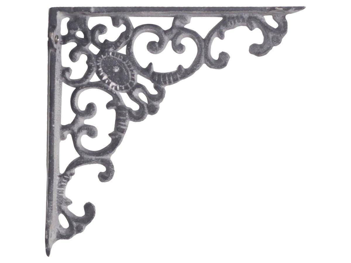 Chic Antique Kovová konzole Grey monogram, šedá barva, kov