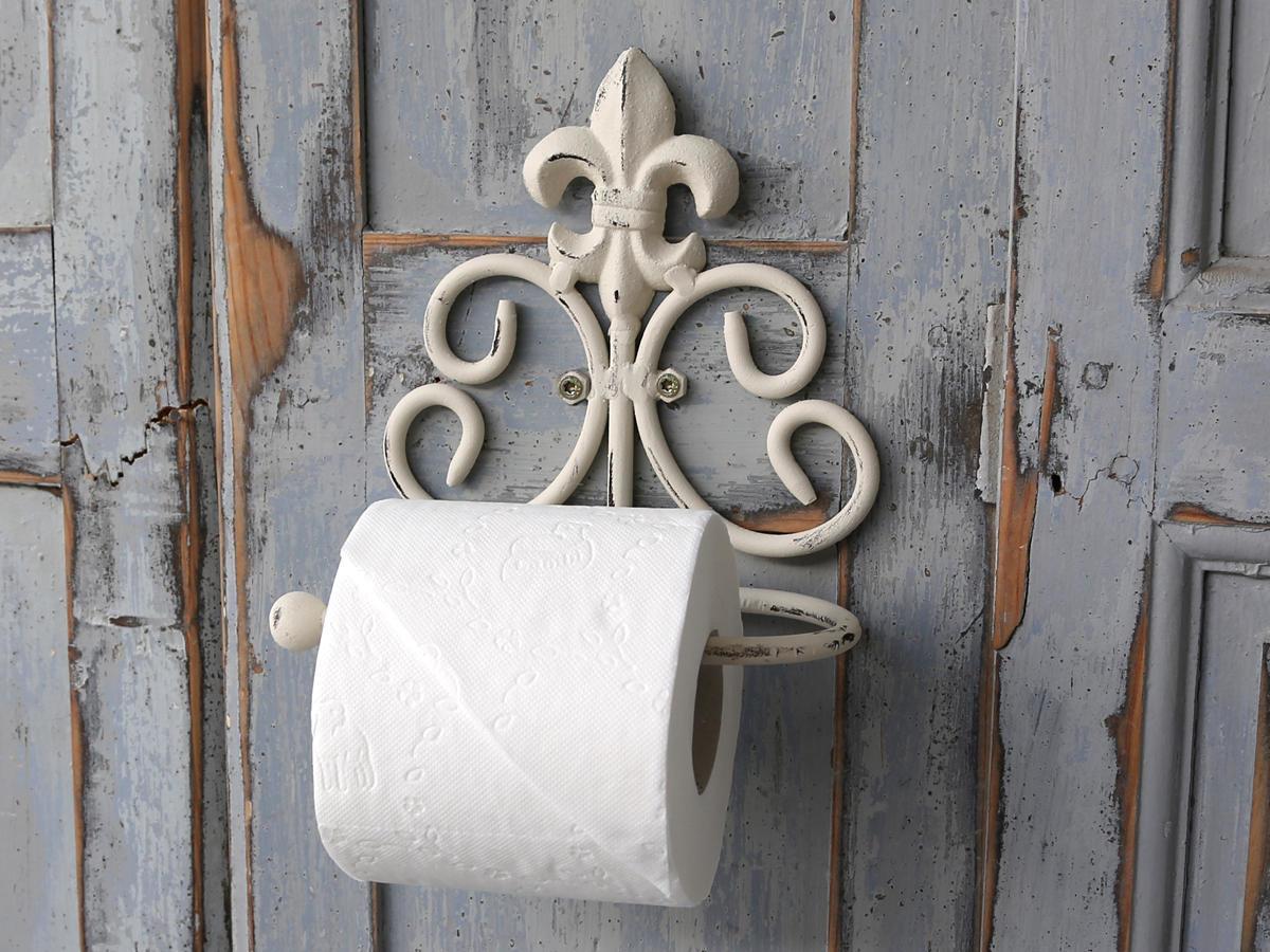 Chic Antique Držák na toaletní papír Fleur, bílá barva, kov