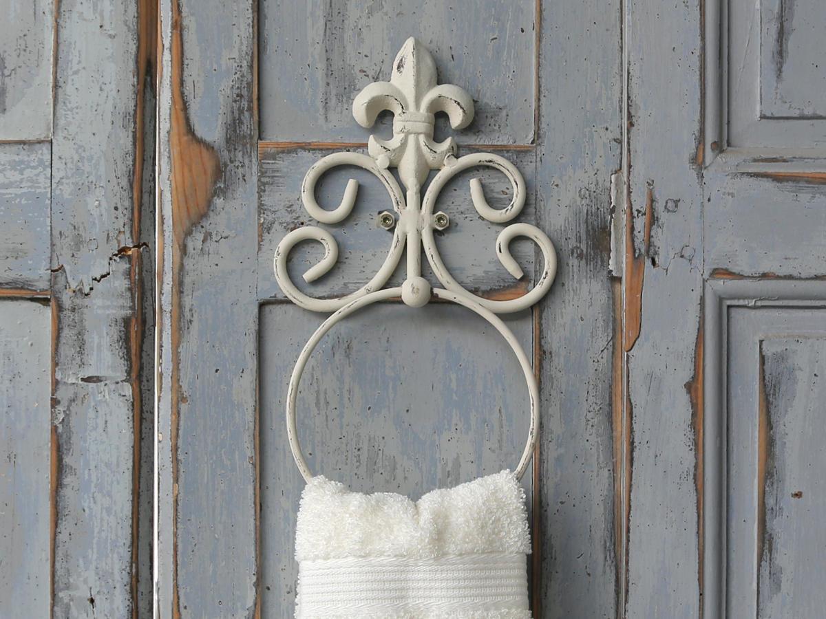 Chic Antique Držák na ručníky Fleur, bílá barva, kov