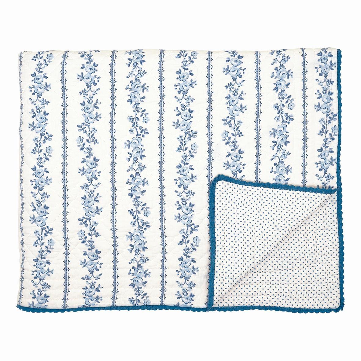 Green Gate Bavlněná deka Audrey indigo 220 x 140 cm, modrá barva, bílá barva, textil