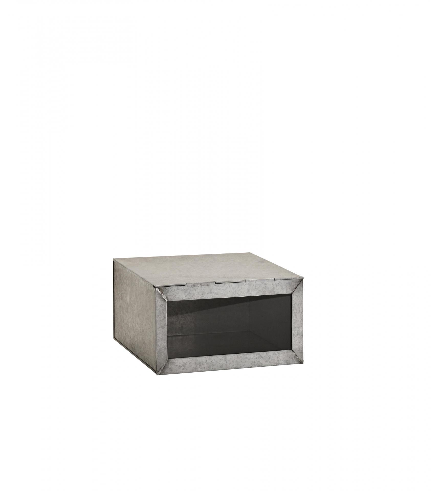 MADAM STOLTZ Zinkový box Glass lid, šedá barva, zinek