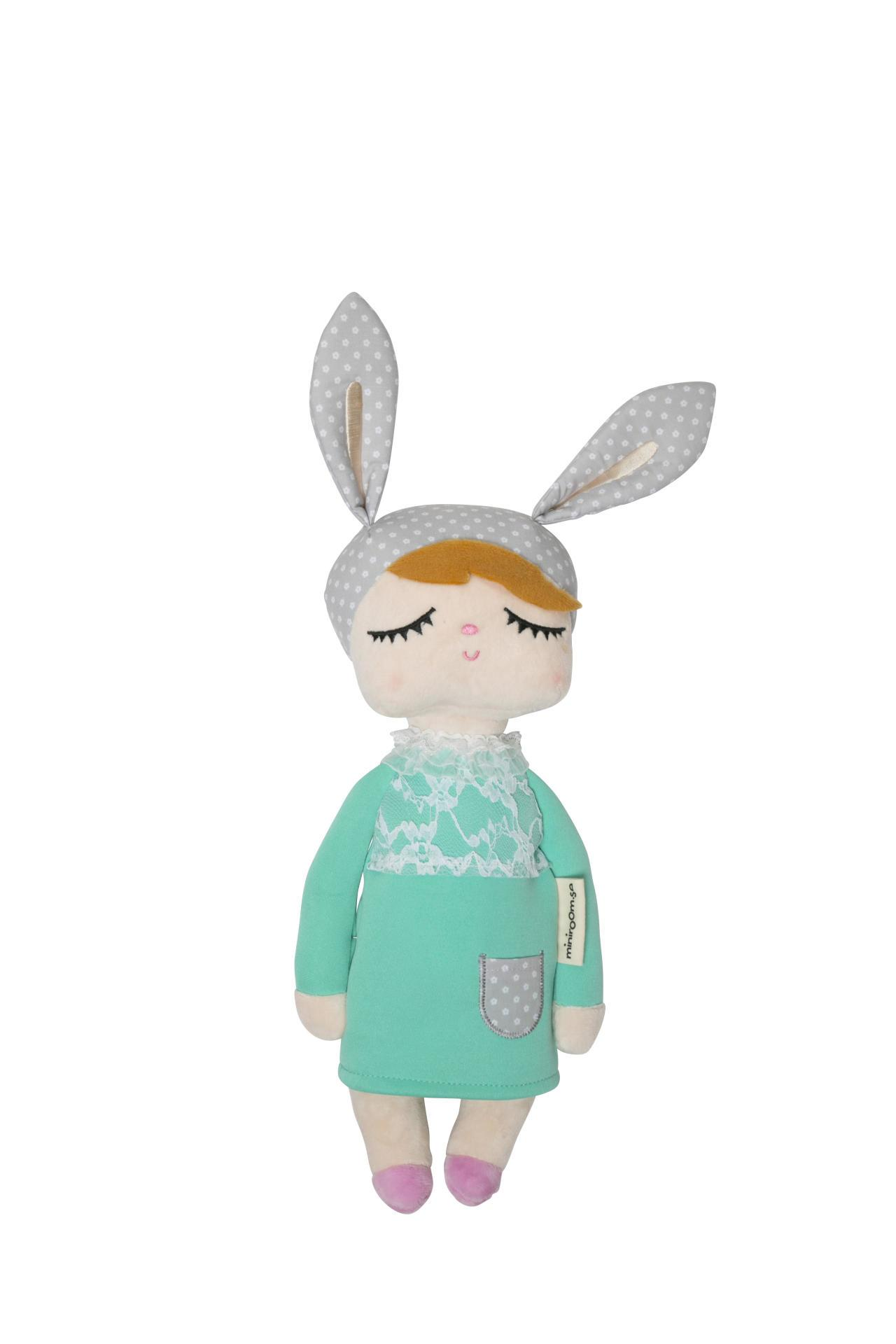 miniroom Králičí panenka Lille Kanin New Green, zelená barva, šedá barva, textil