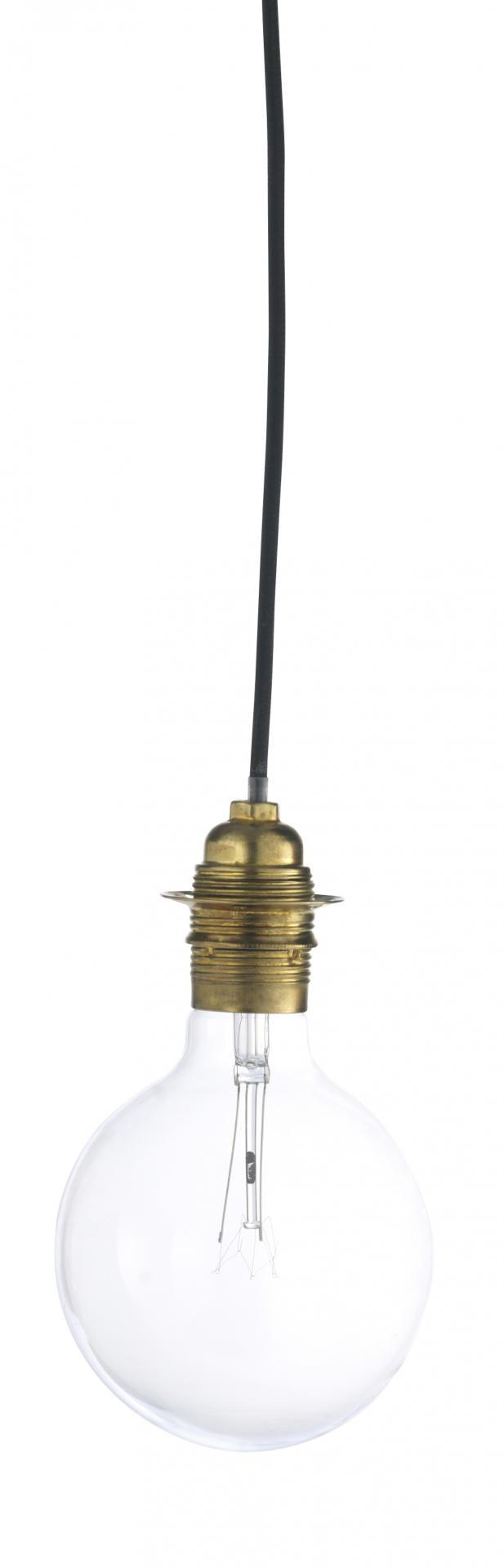 MADAM STOLTZ Kabel s objímkou (E27) na žárovku Brass, žlutá barva, kov