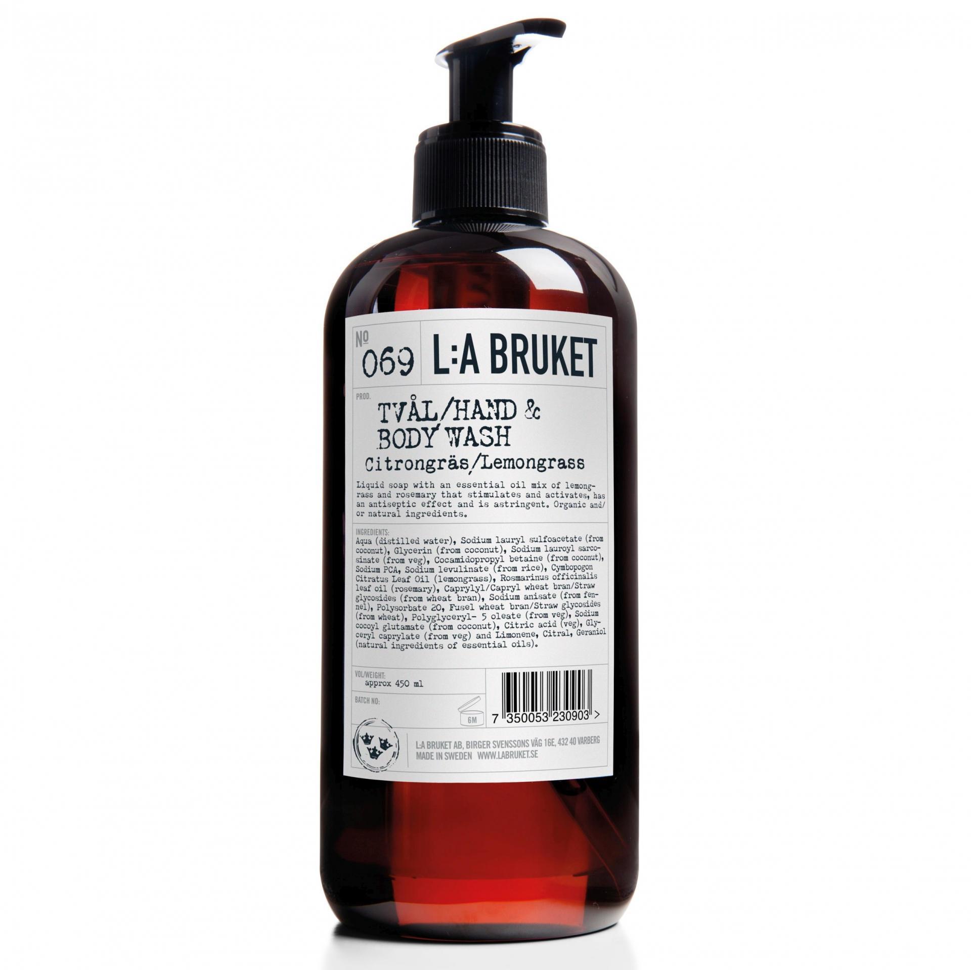 L:A BRUKET Tekuté mýdlo citronová tráva 450 ml, černá barva, bílá barva, hnědá barva, plast