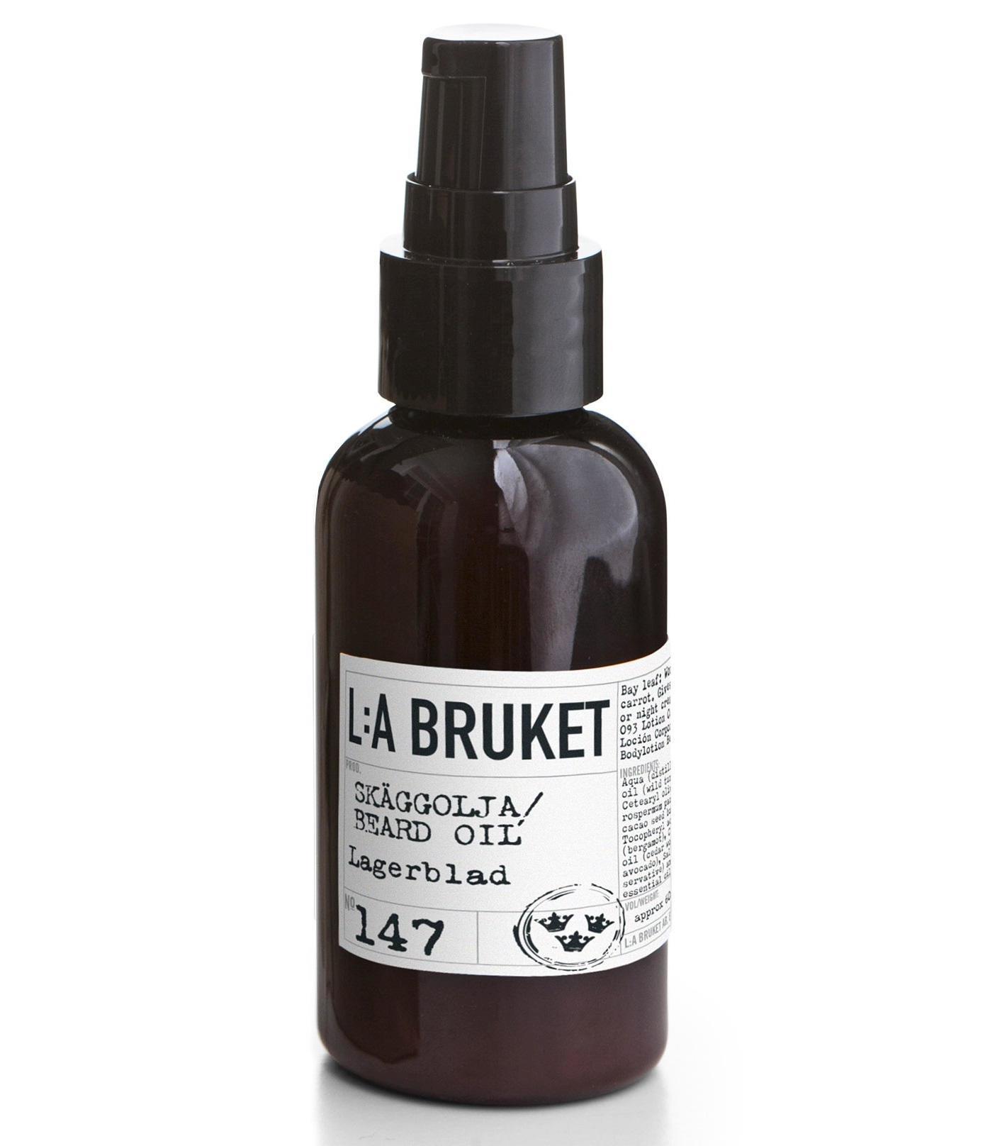 L:A BRUKET Olej na vousy s vavřínem 60 ml, černá barva, bílá barva, hnědá barva, plast