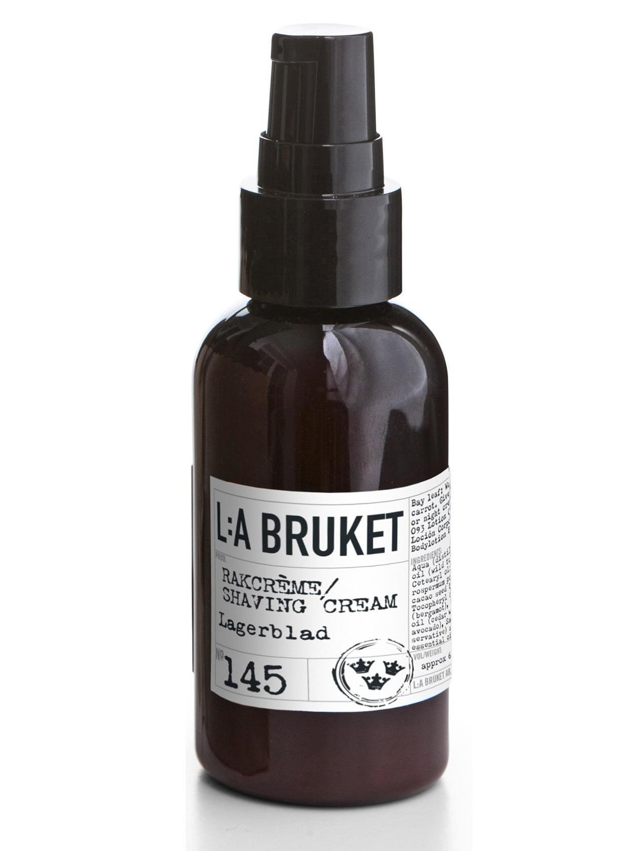 L:A BRUKET Krém na holení s vavřínem 60 ml, černá barva, bílá barva, hnědá barva, plast