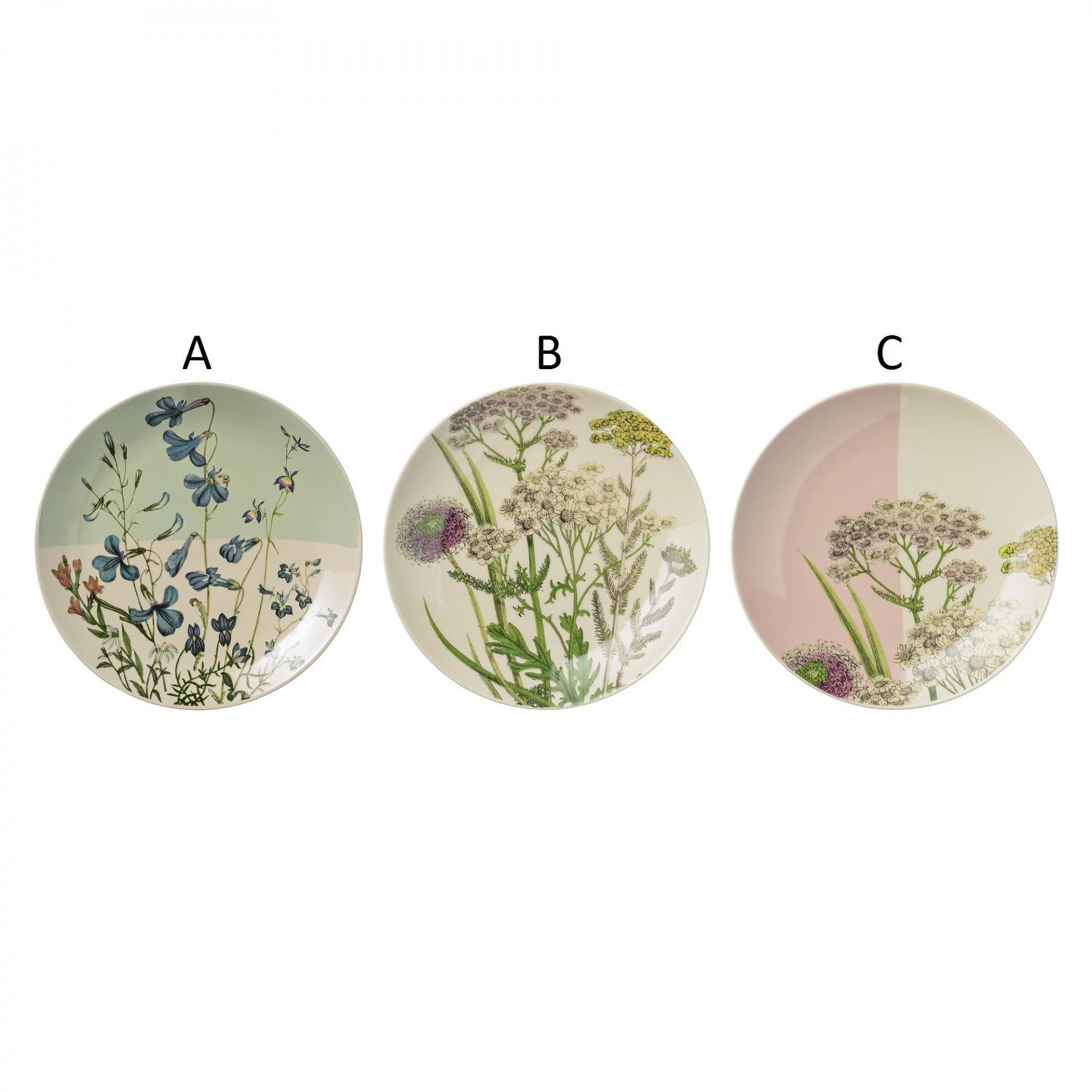 Bloomingville Keramický talíř Botanical Varianta A, multi barva, keramika