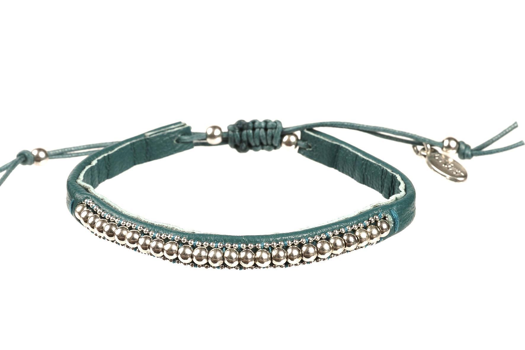 HULTQUIST Kožený náramek Green/silver, zelená barva B291007303E