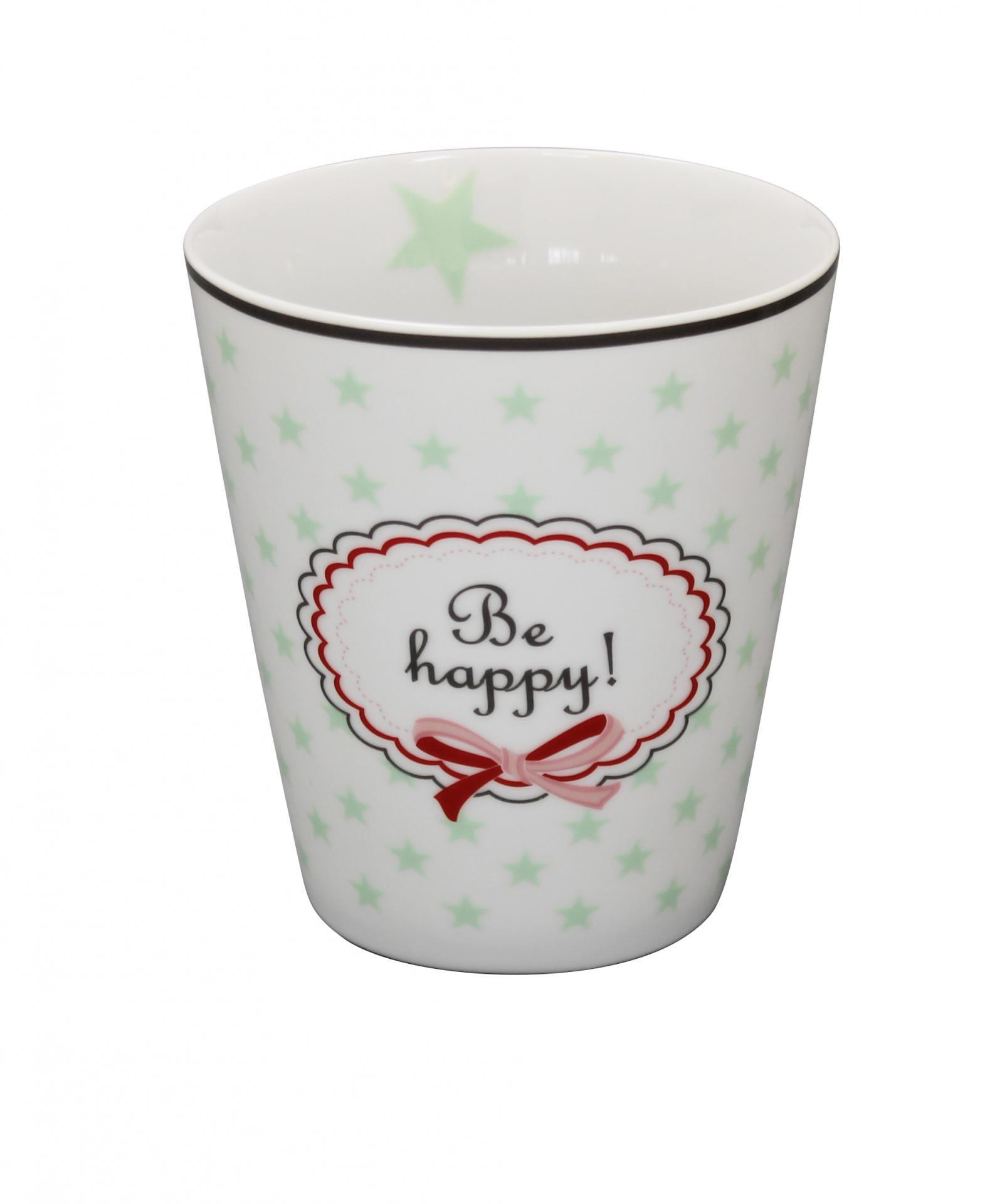 Krasilnikoff Hrneček Be happy white, zelená barva, porcelán