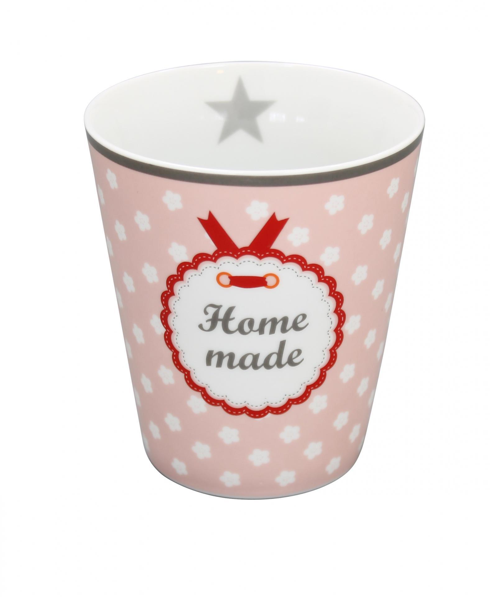 Krasilnikoff Hrneček Home made, růžová barva, porcelán