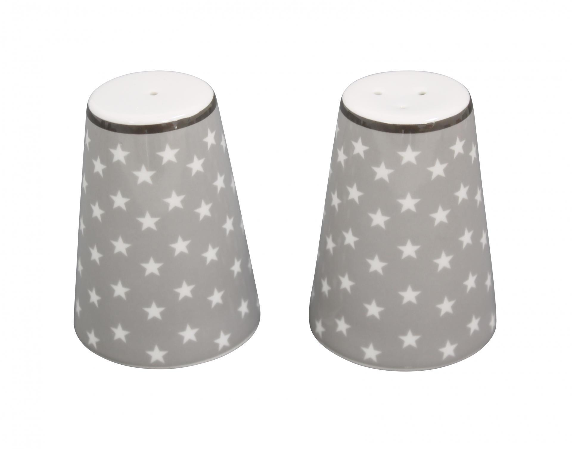 Krasilnikoff Solnička a pepřenka Light grey star, šedá barva, porcelán