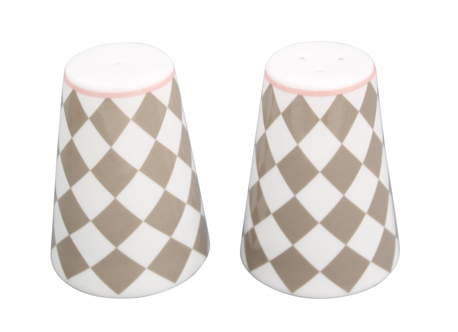 Krasilnikoff Solnička a pepřenka Taupe harlekin, béžová barva, šedá barva, porcelán
