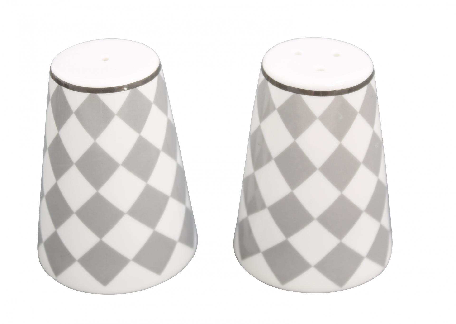 Krasilnikoff Solnička a pepřenka Light grey harlekin, šedá barva, porcelán