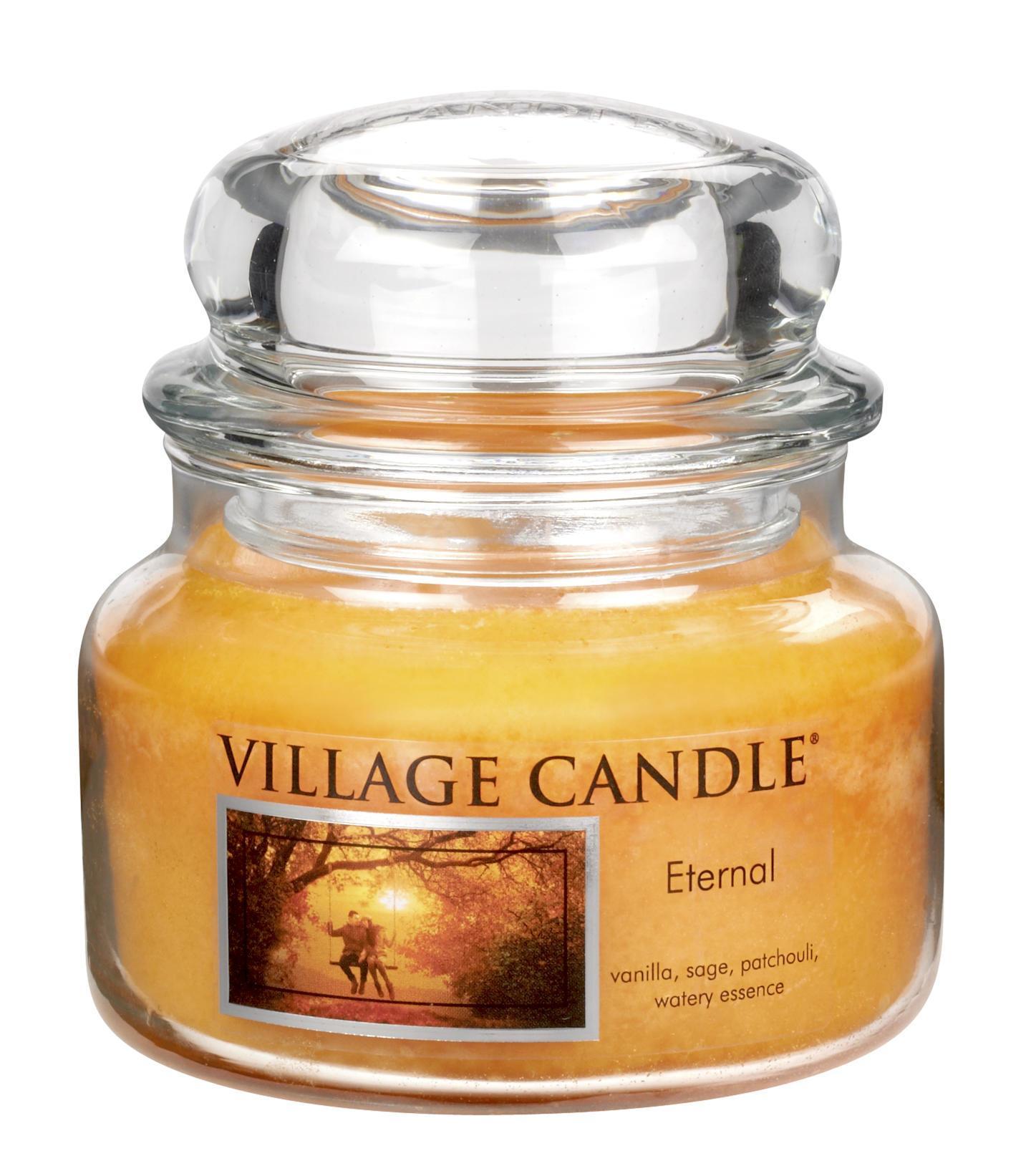 VILLAGE CANDLE Svíčka ve skle Eternal - malá, oranžová barva, sklo