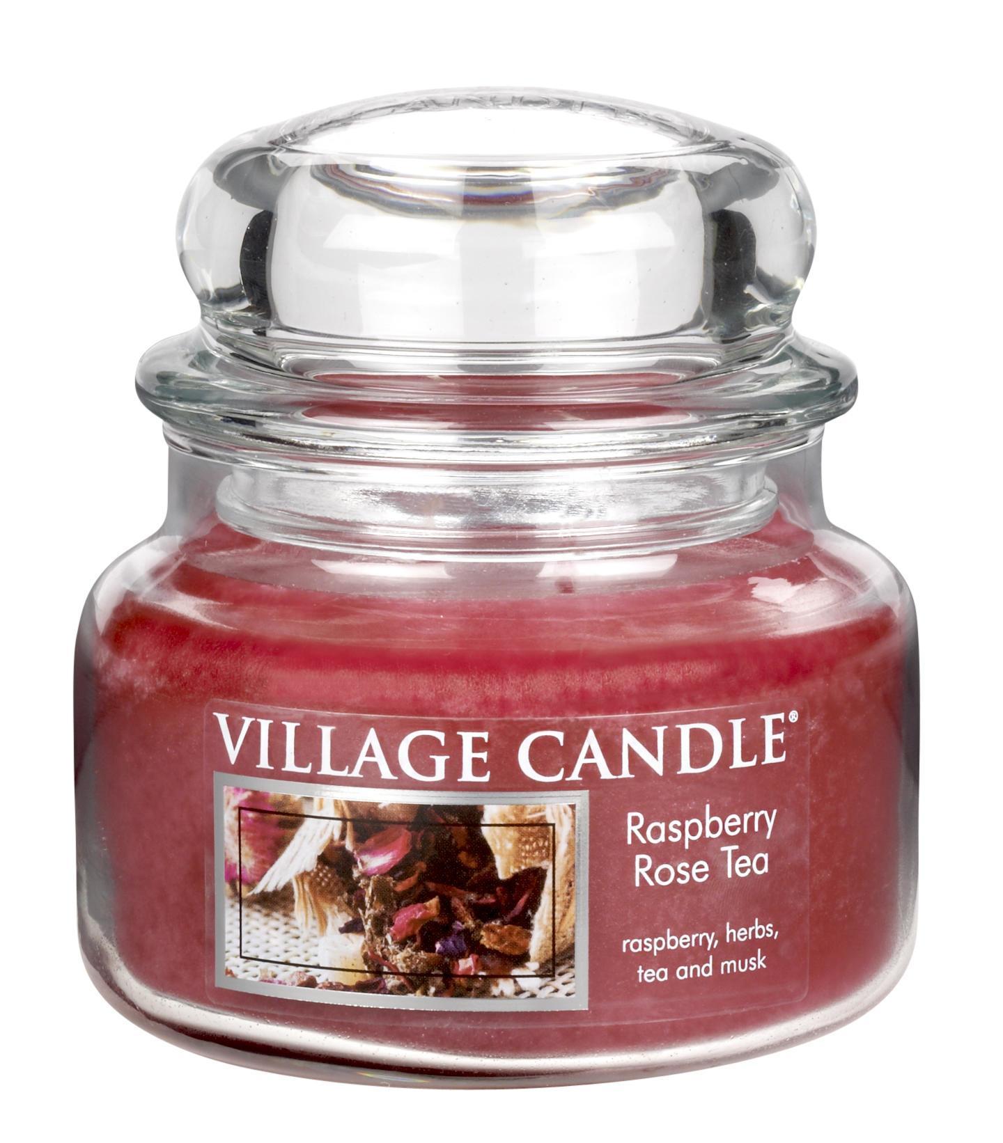 Village Candle Svíčka ve skle Raspberry & Rose tea - malá