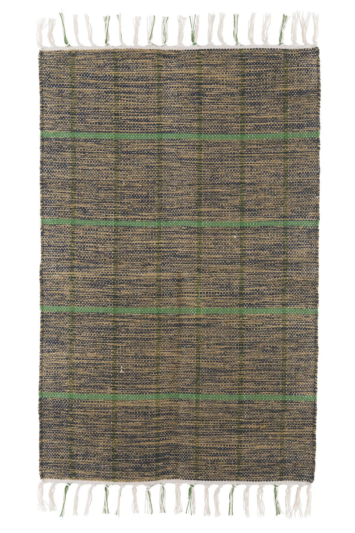 house doctor Koberec Green note 160 x 230 cm, zelená barva, hnědá barva, textil