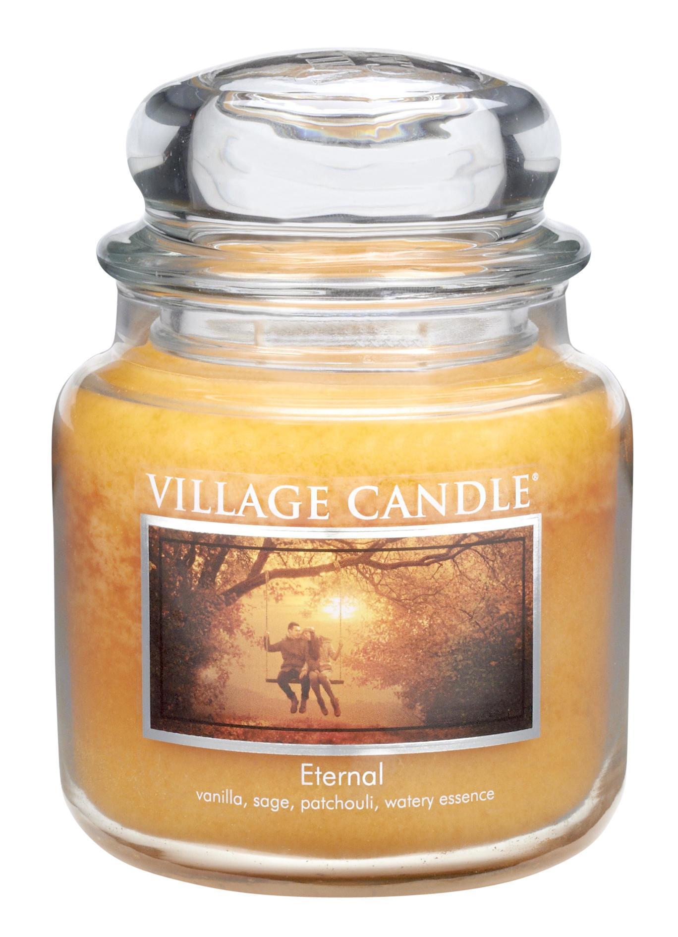 VILLAGE CANDLE Svíčka ve skle Eternal - střední, žlutá barva, sklo
