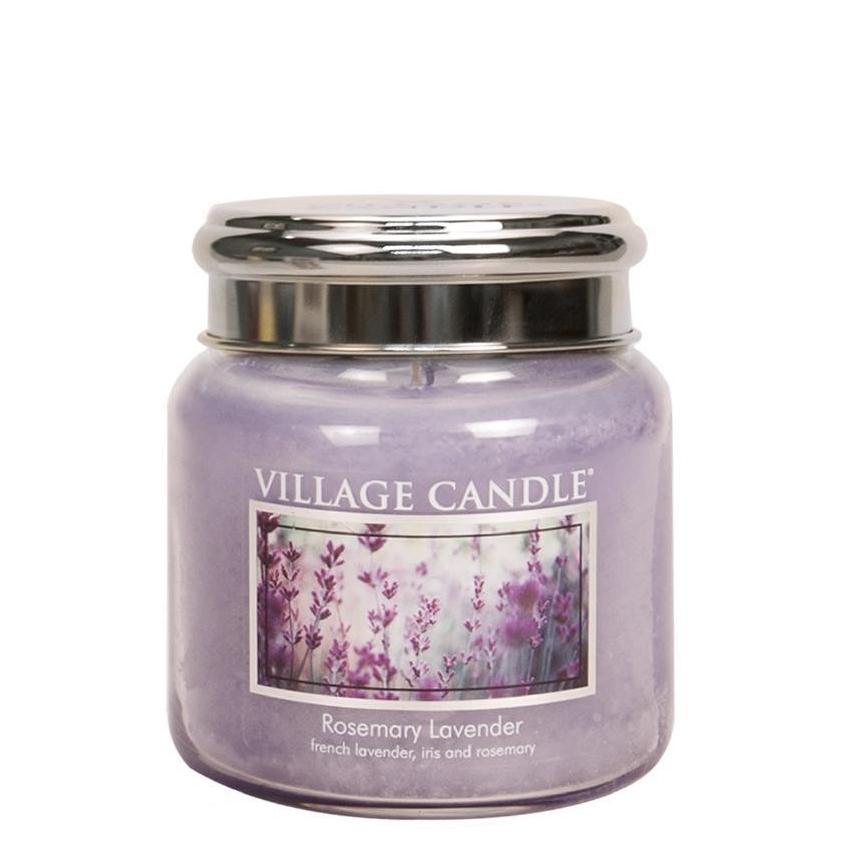 VILLAGE CANDLE Svíčka Village Candle - Rosemary Lavender 389g, fialová barva, sklo