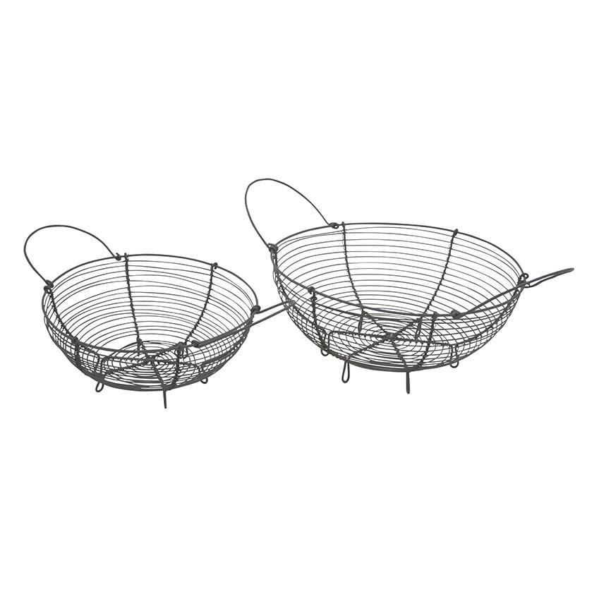 Krasilnikoff Kovový košík na pečivo Menší, šedá barva, kov