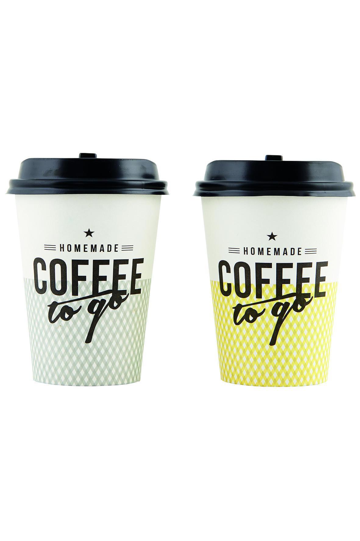 House Doctor Kelímky na kávu s víčkem - 12 ks Žluté kelímky