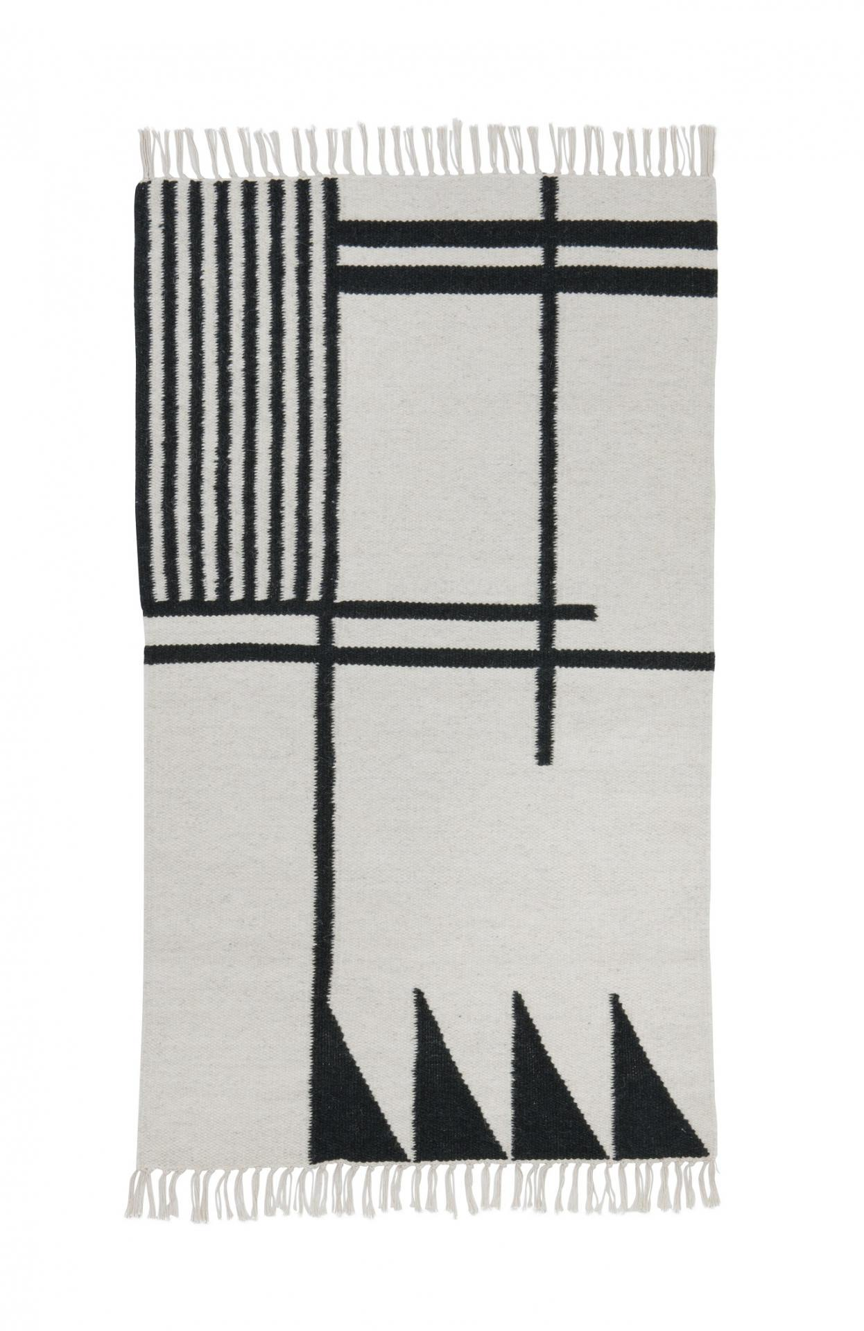 ferm LIVING Vlněný koberec Kelim Black Lines - S