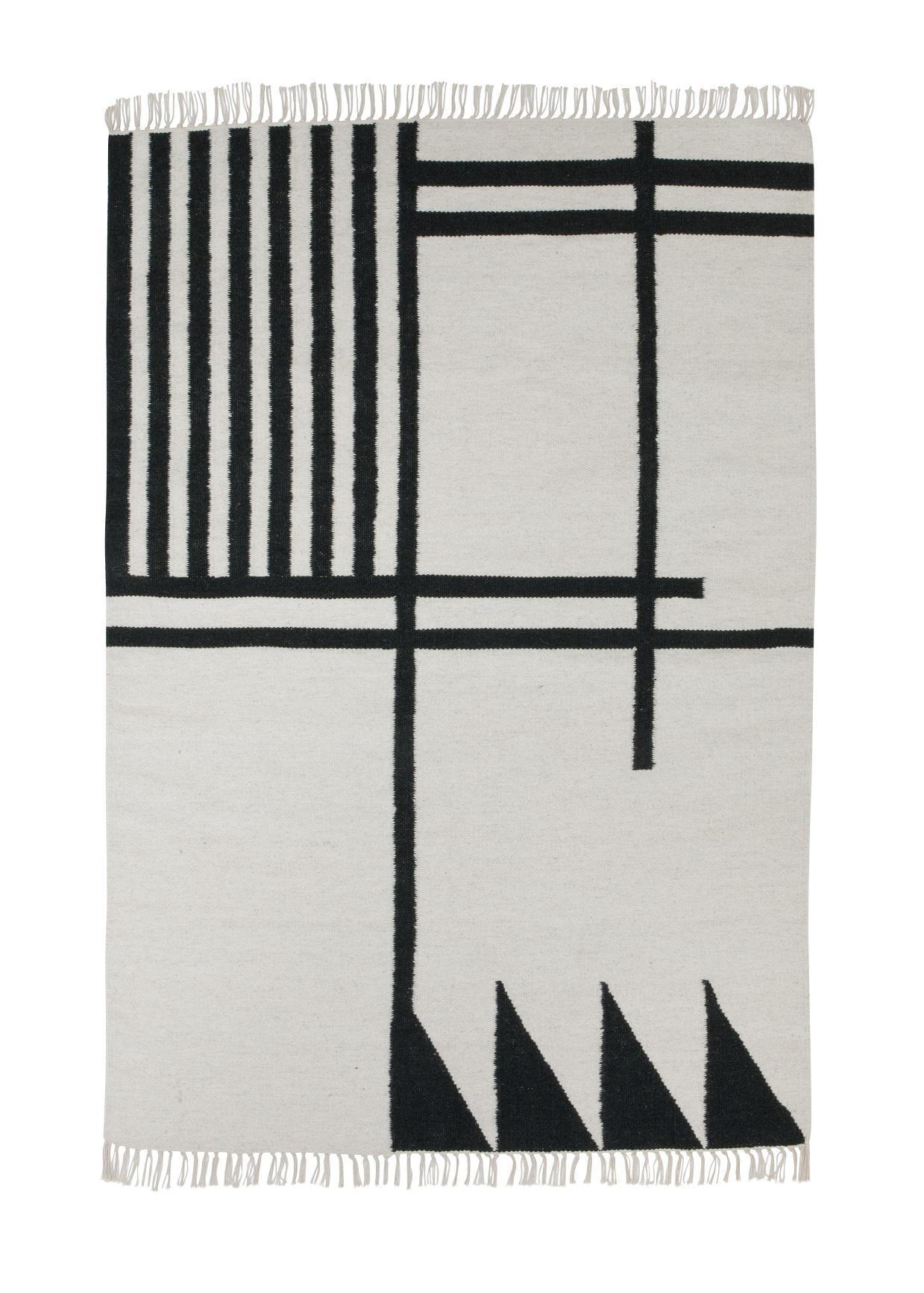 ferm LIVING Vlněný koberec Kelim Black Lines - L, béžová barva, černá barva, textil