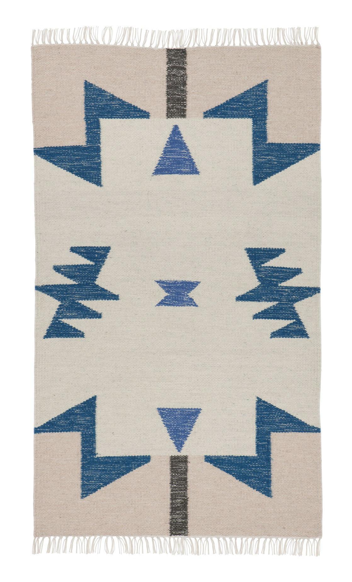 ferm LIVING Vlněný koberec Kelim Blue Triangles - S, modrá barva, béžová barva, textil