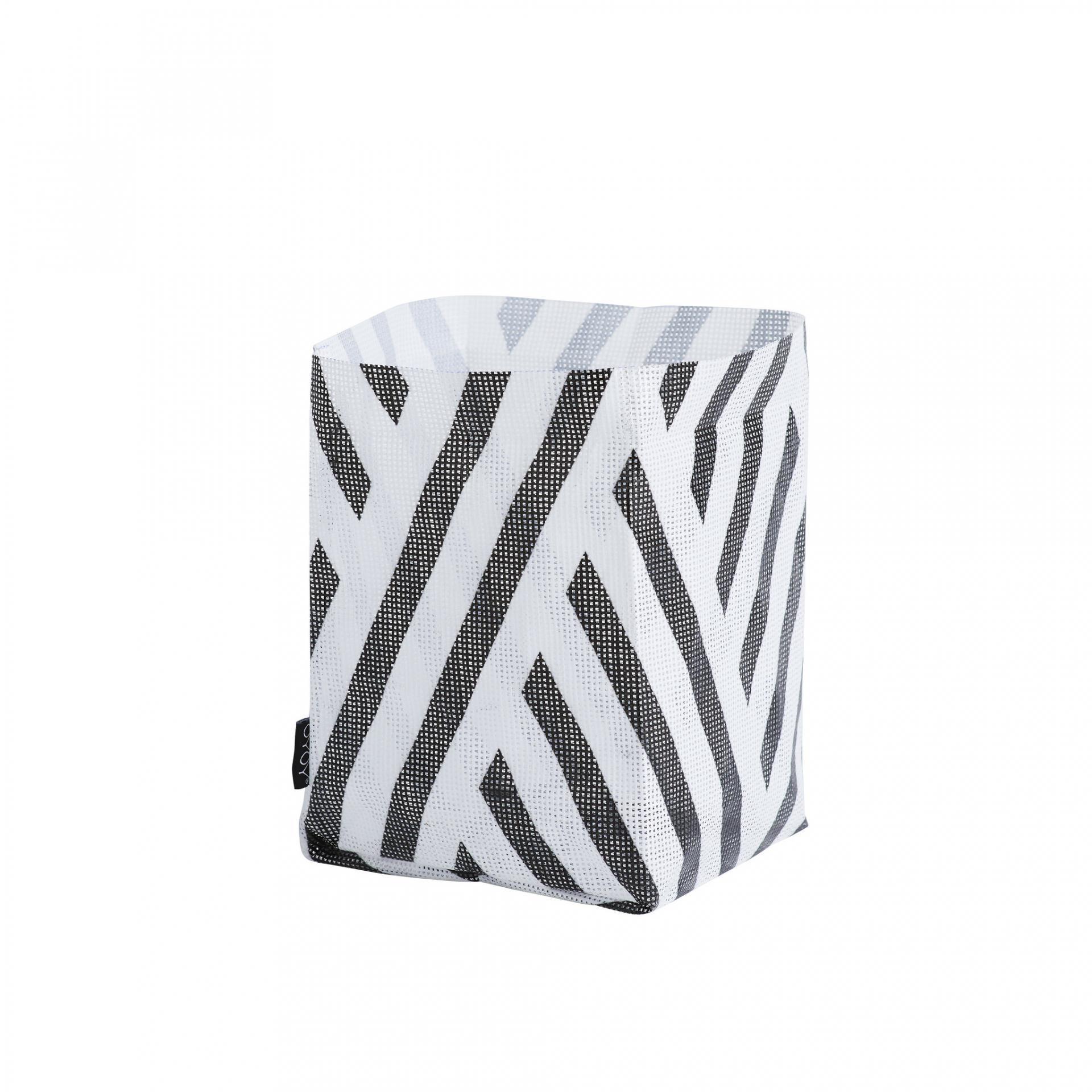 OYOY Úložný plastový košík Hokuspokus Black&White, černá barva, bílá barva, plast