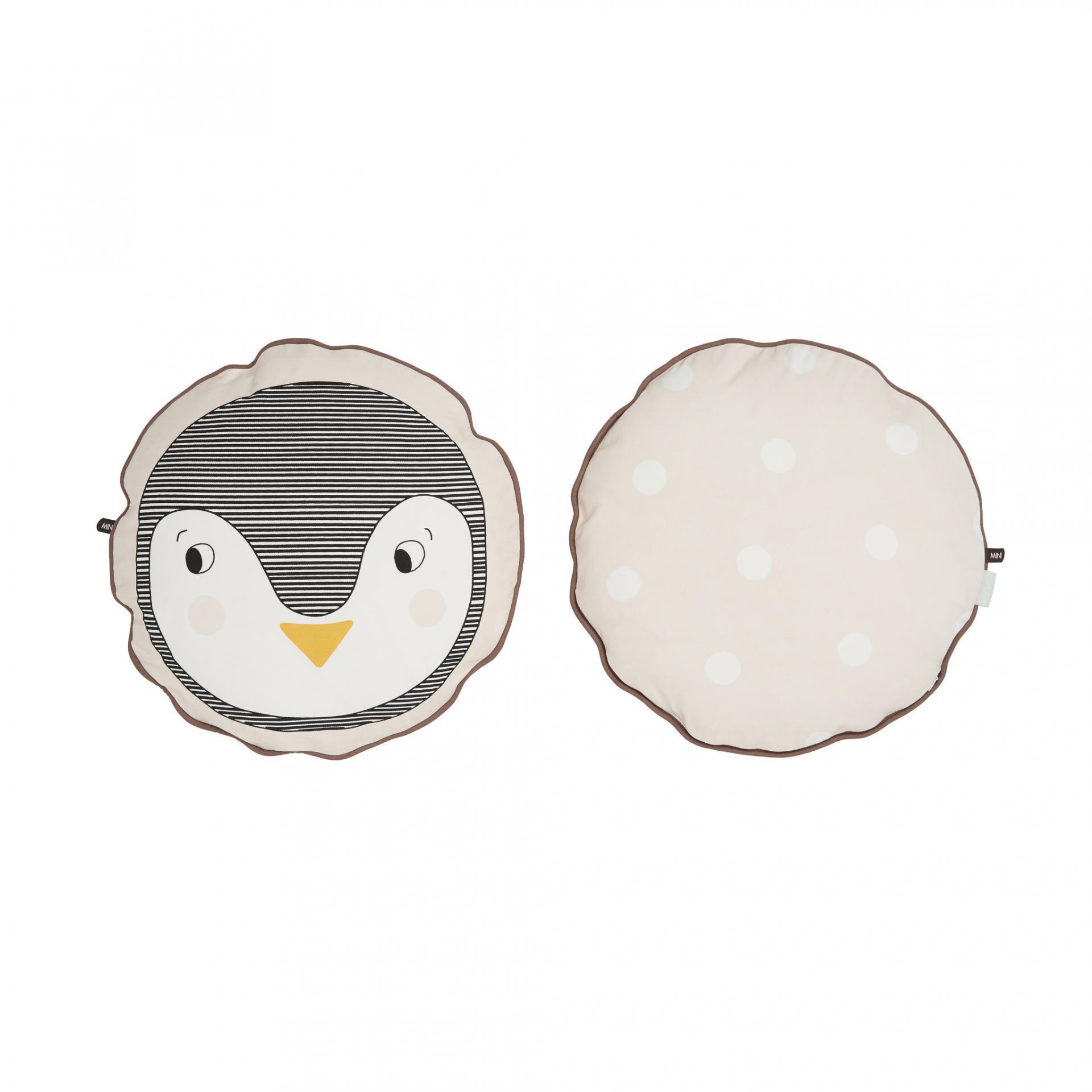 OYOY Kulatý polštářek Penguin, béžová barva, textil