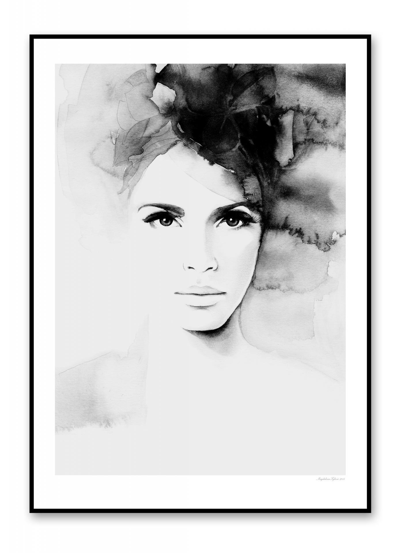 Magdalena Tyboni DESIGN Plakát Pretty Anne 50 x 70, šedá barva, černá barva, papír