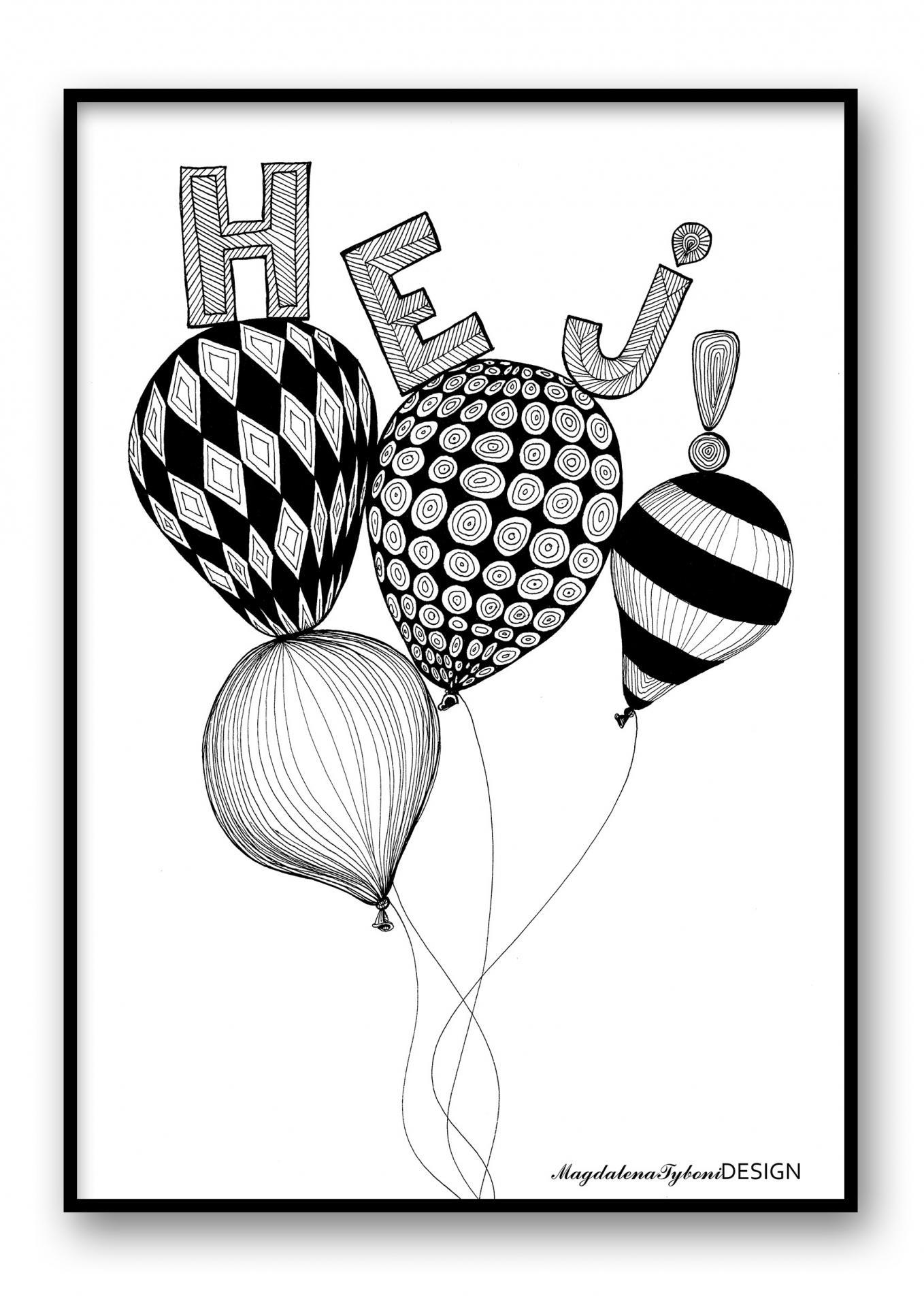 Magdalena Tyboni DESIGN Plakát Hej! 30 x 40 cm