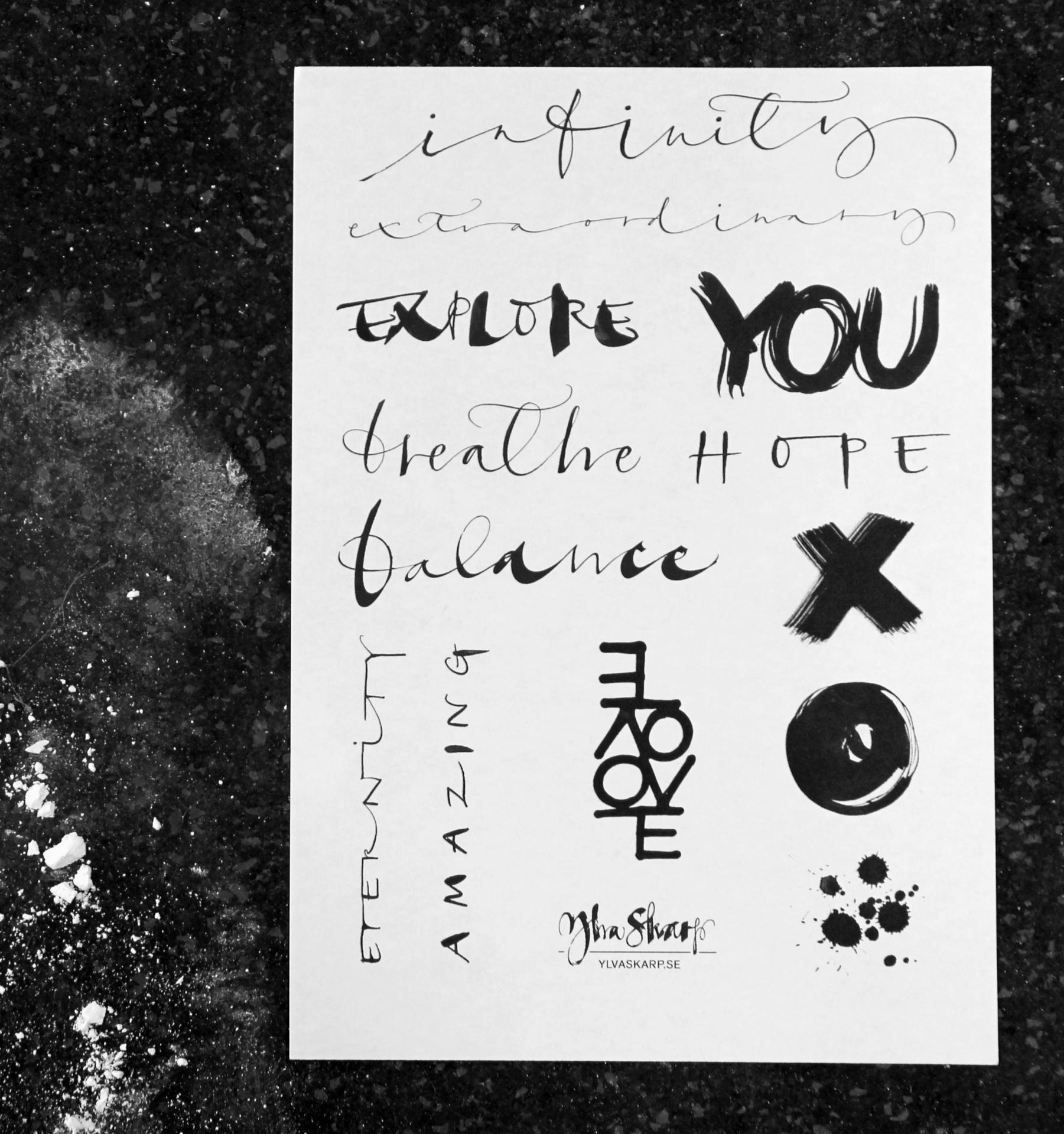 Ylva Skarp Dočasné tetování Ylva Tattoo, černá barva, bílá barva, papír