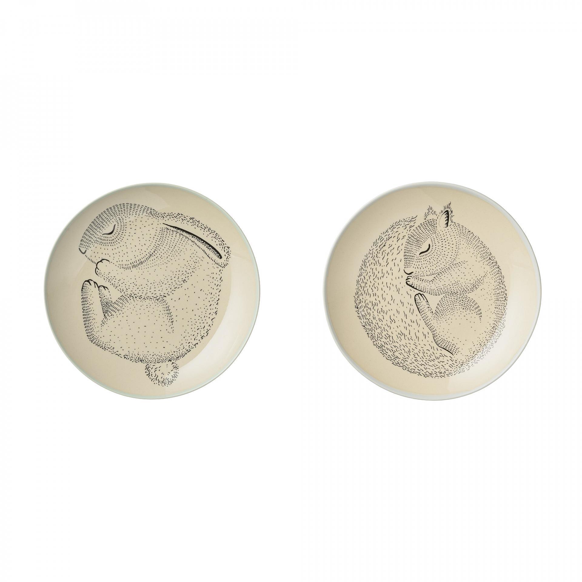 Bloomingville Keramický talířek Adelynn Animals - 2 druhy Veverka, béžová barva, keramika