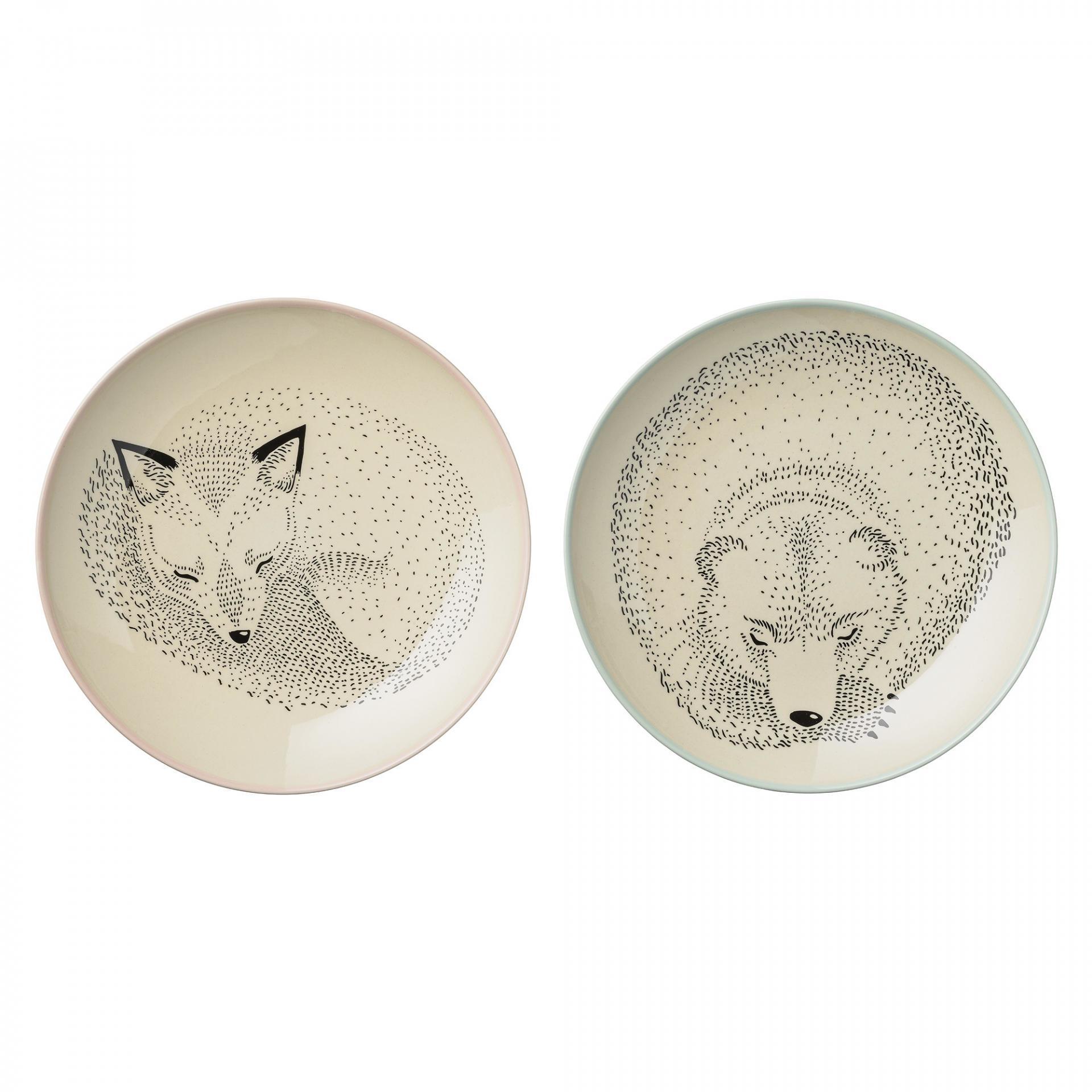 Bloomingville Keramický talíř Adelynn Animals - 2 druhy Medvěd, béžová barva, multi barva, ke