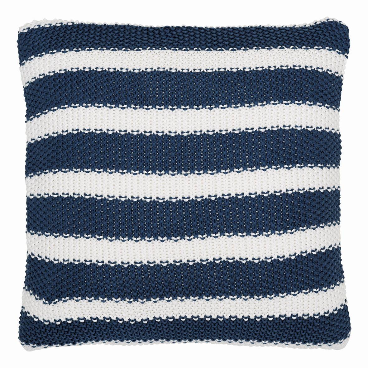 GREEN GATE Pletený povlak na polštář Stripe indigo, modrá barva, bílá barva, textil
