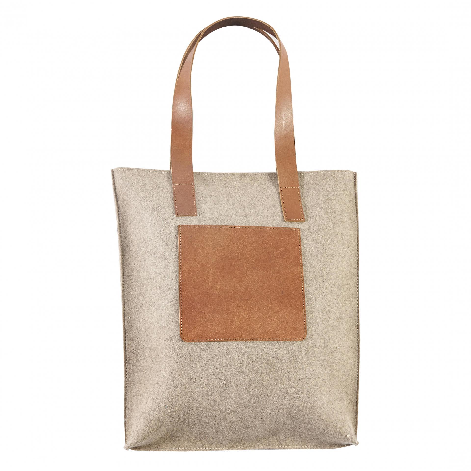 Hübsch Vlněná taška s koženým uchem Light Leather, béžová barva, hnědá barva, textil, kůže