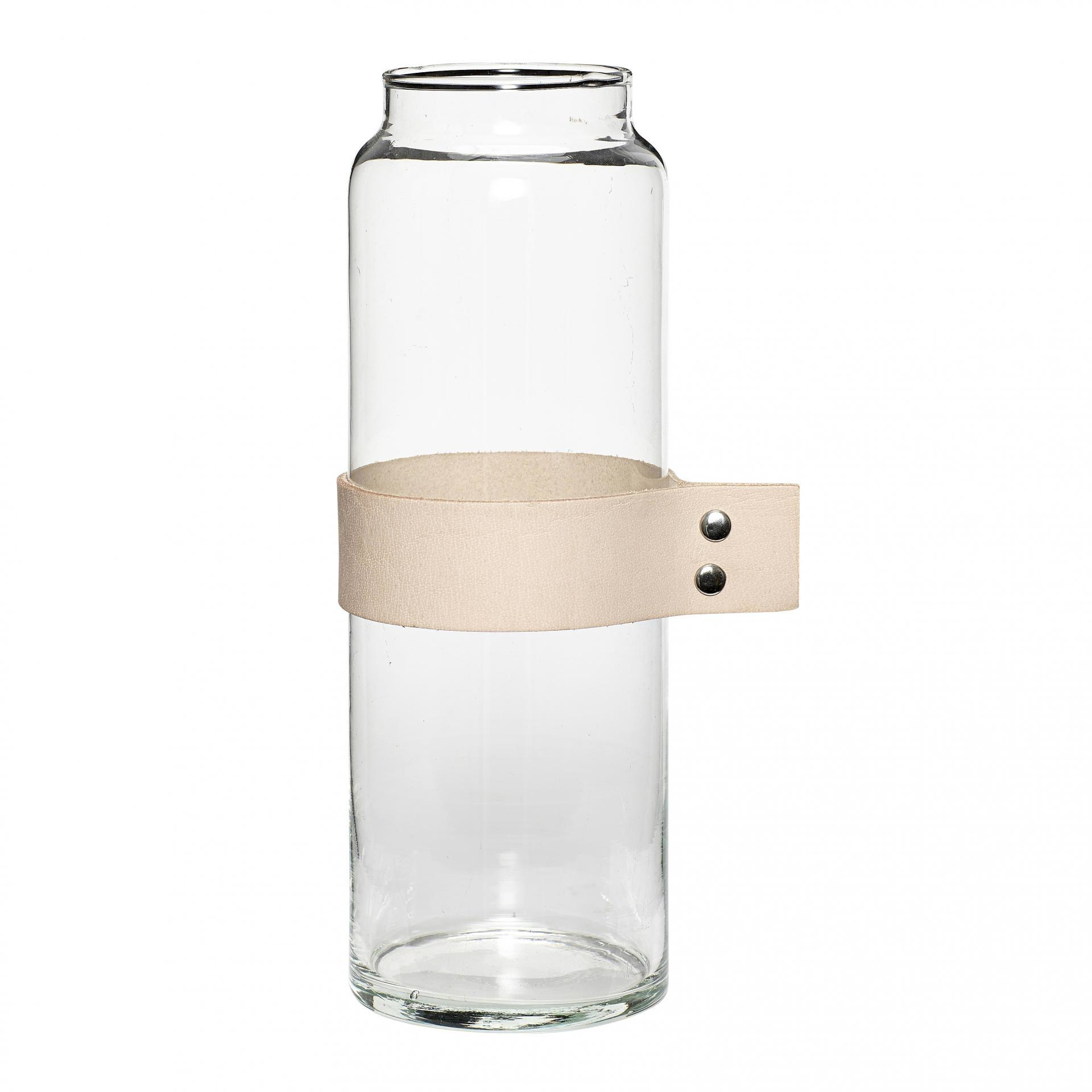 Hübsch Skleněná váza s koženou rukojetí Ribbon, béžová barva, čirá barva, sklo, kůže
