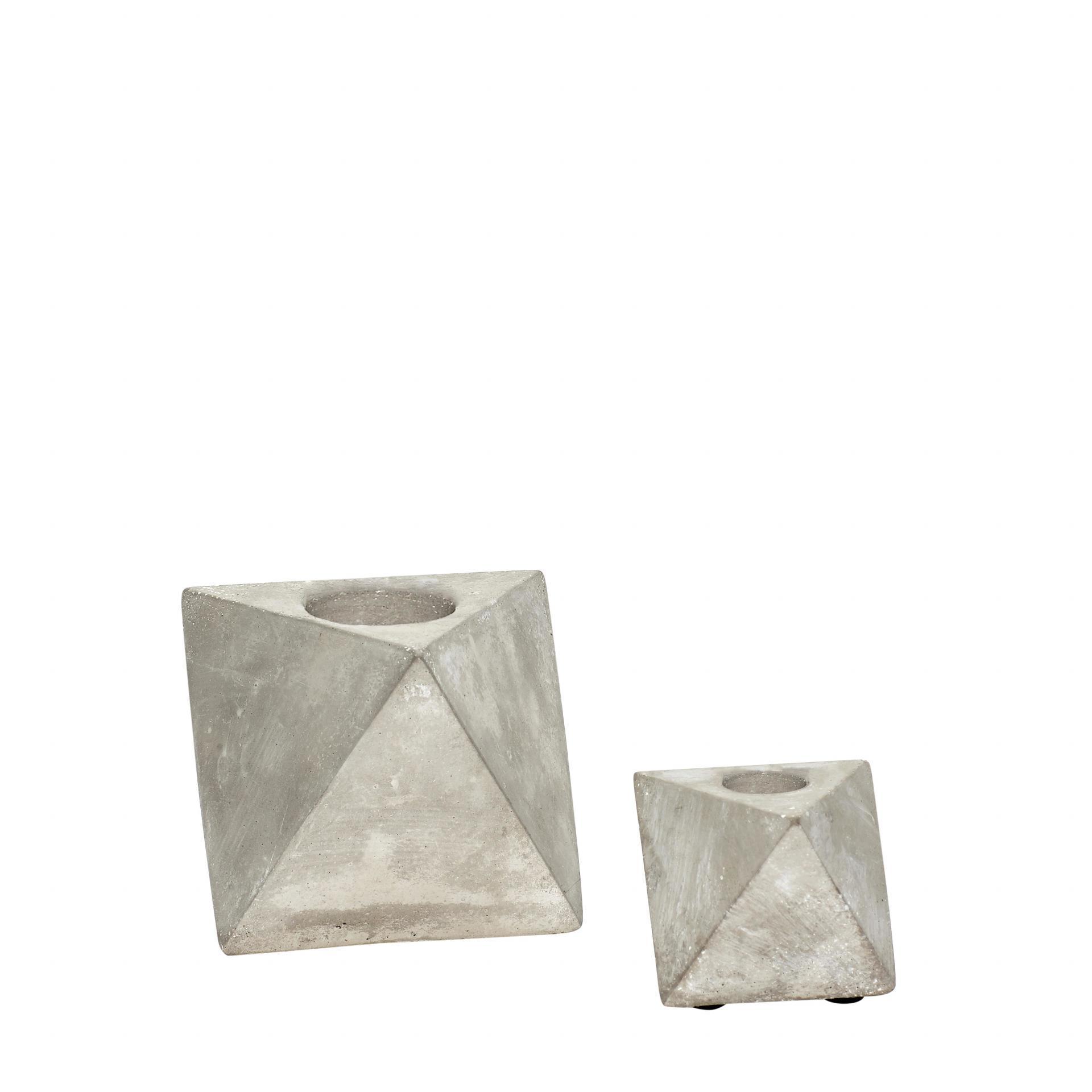 Hübsch Geometrický svícen Concrete Velikost S, šedá barva, beton