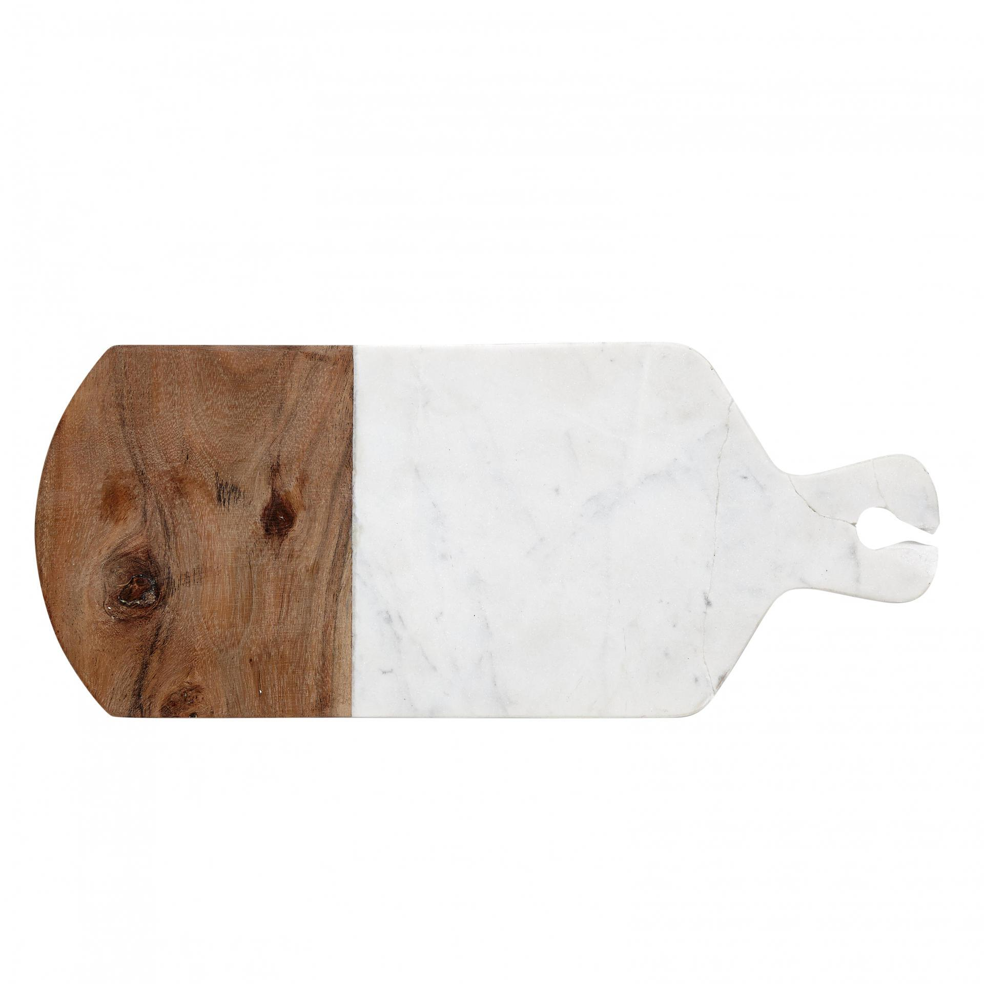 Hübsch Mramorové prkénko Marble, hnědá barva, krémová barva, dřevo, mramor