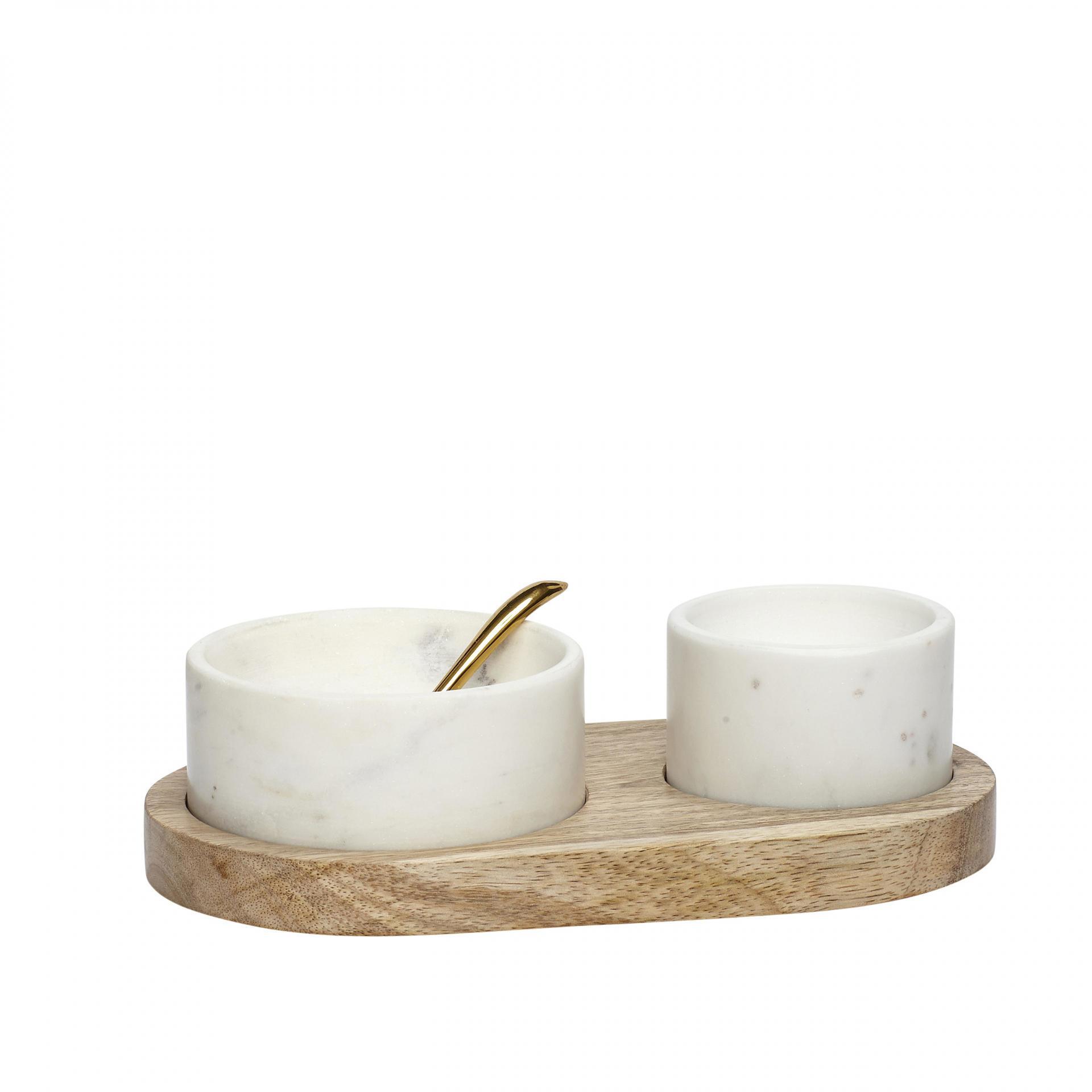 Hübsch Mramorové mističky na dřevěném tácku Marble, hnědá barva, krémová barva, dřevo, mramor