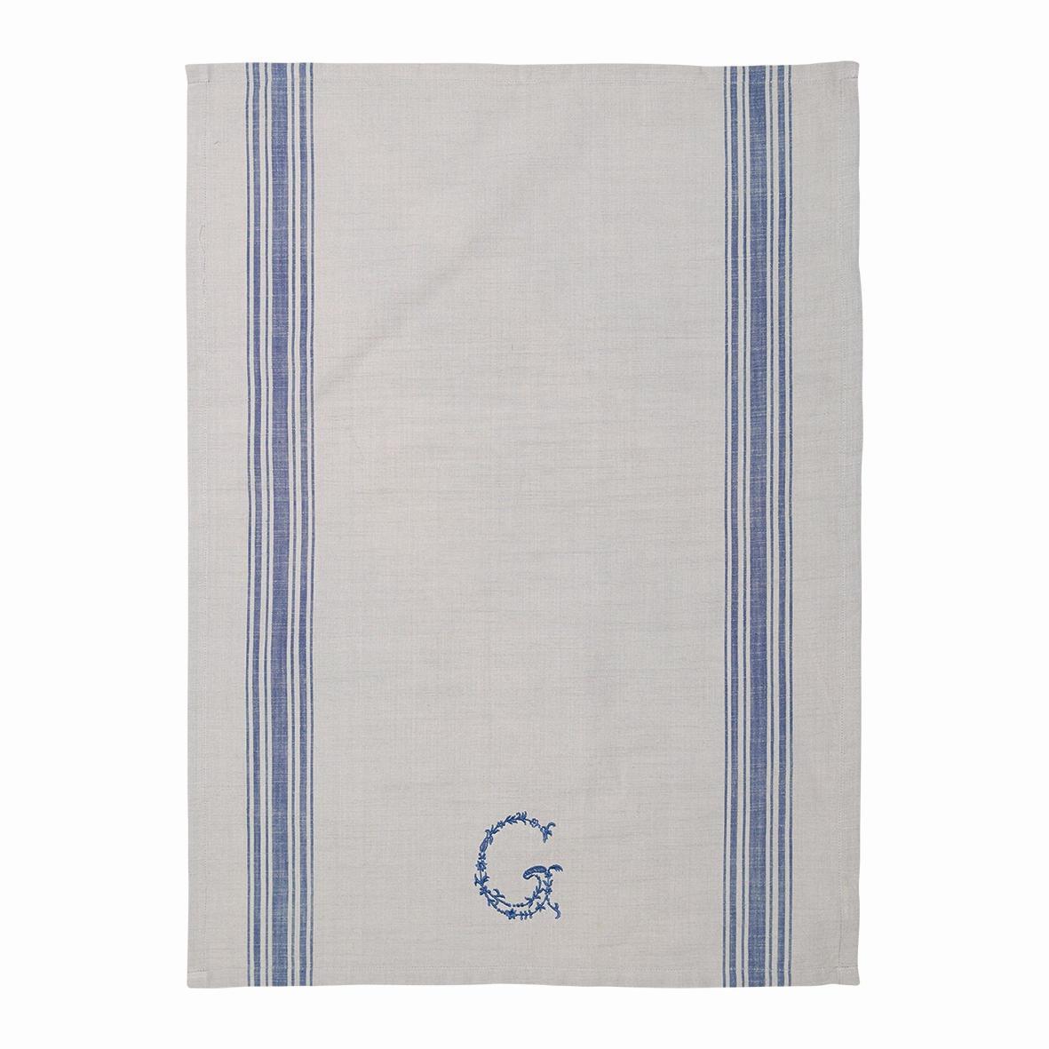 GREEN GATE Utěrka G blue, modrá barva, béžová barva, textil