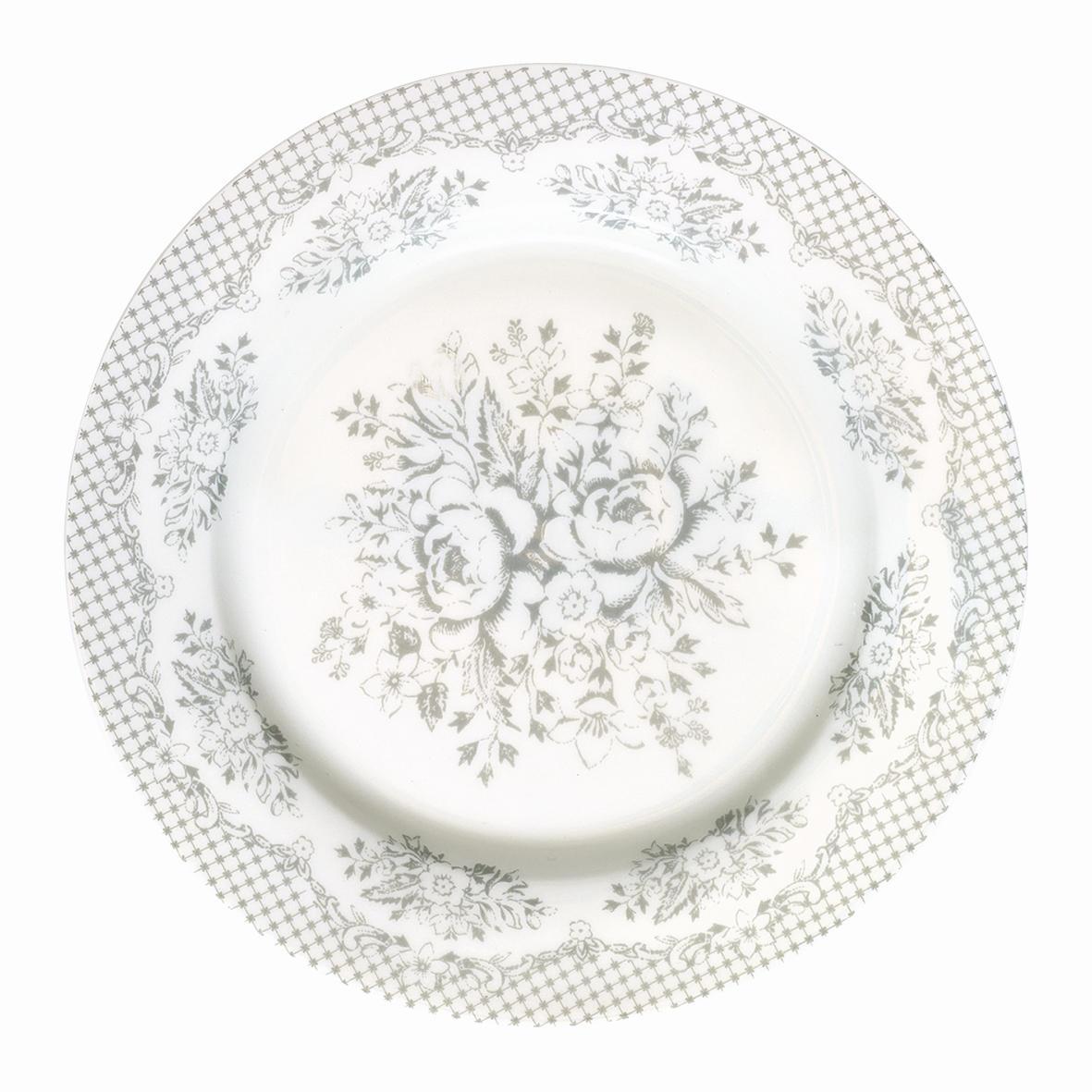 GREEN GATE Dezertní talíř Stephanie warm grey, šedá barva, porcelán 20 cm